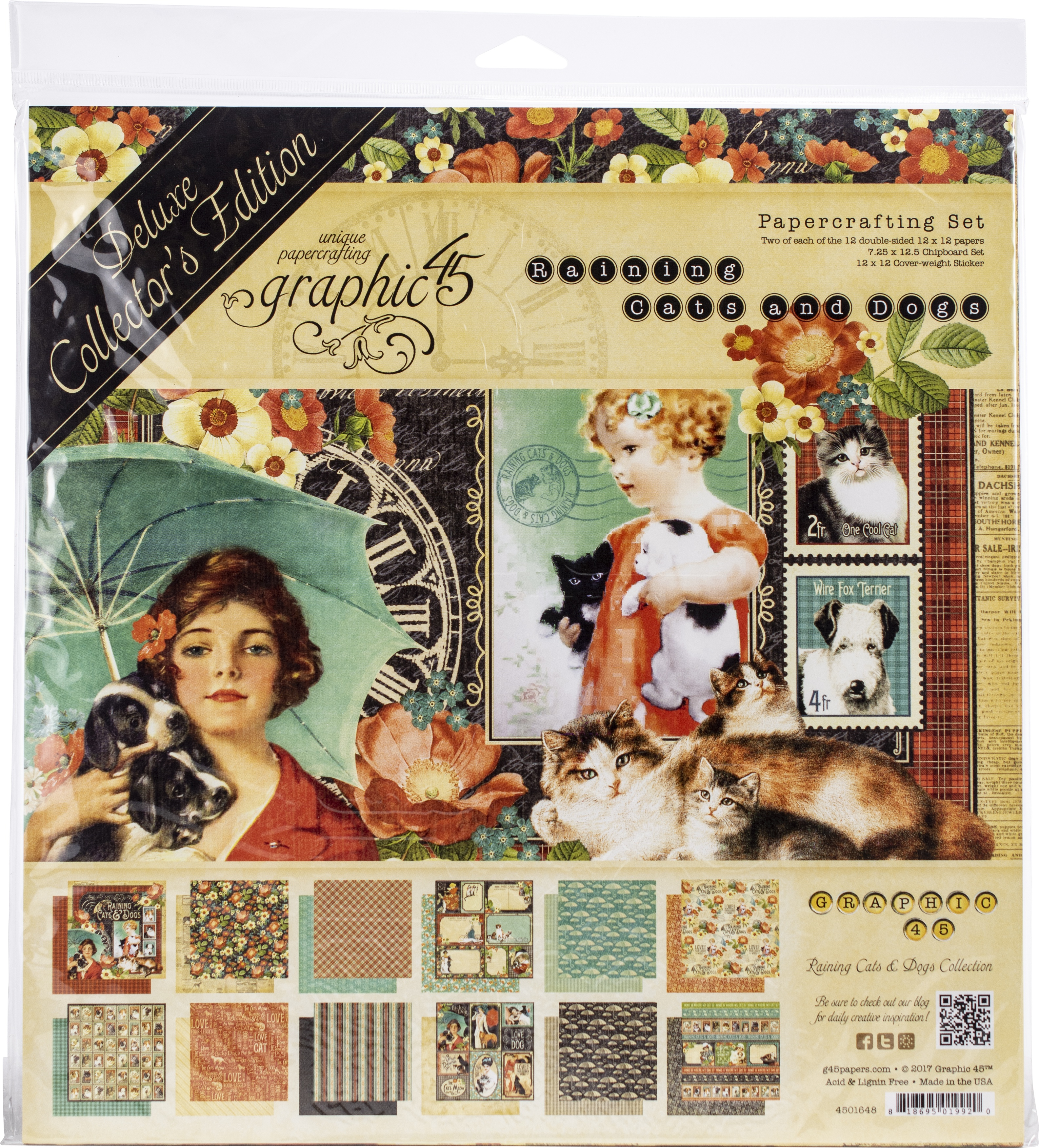 Graphic 45 Deluxe Collector's Edition Pack 12X12-Raining Cats & Dogs