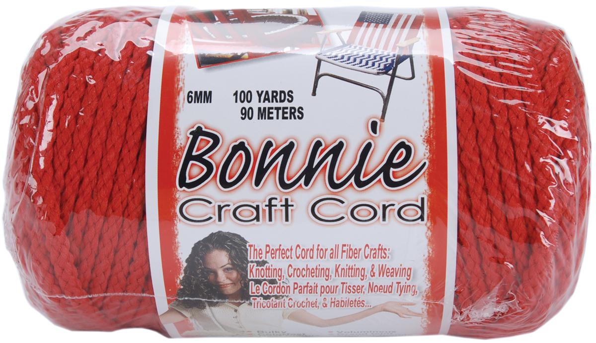 Bonnie Macrame Craft Cord 6mmX100yd-Red
