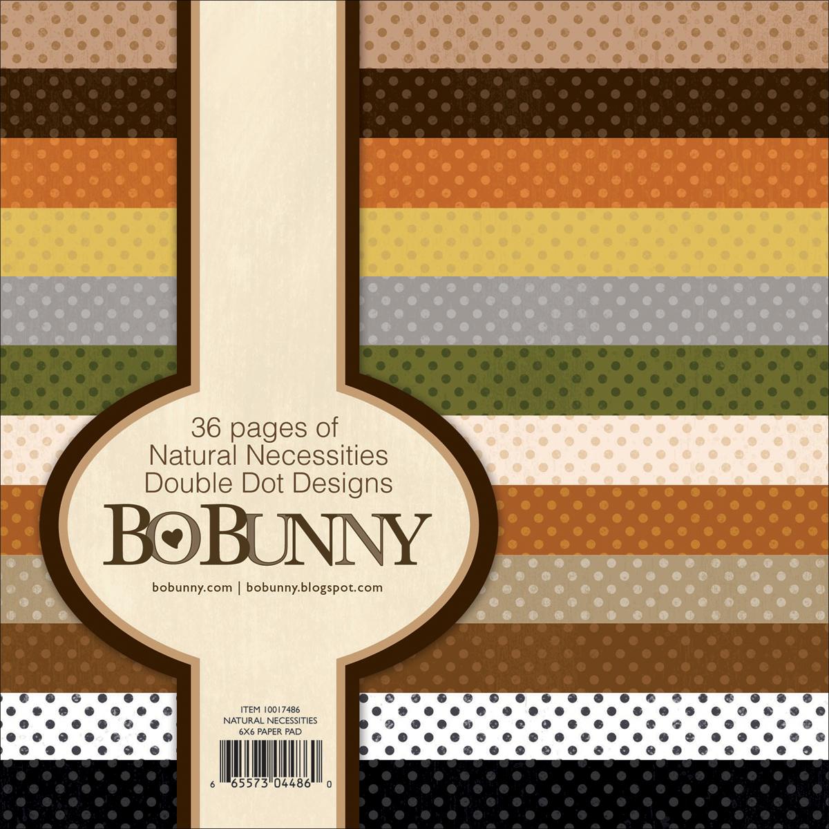 BoBunny Double Dot Paper Pad 6X6 36/Pkg-Natural Necessities 12 Colors/3 Each