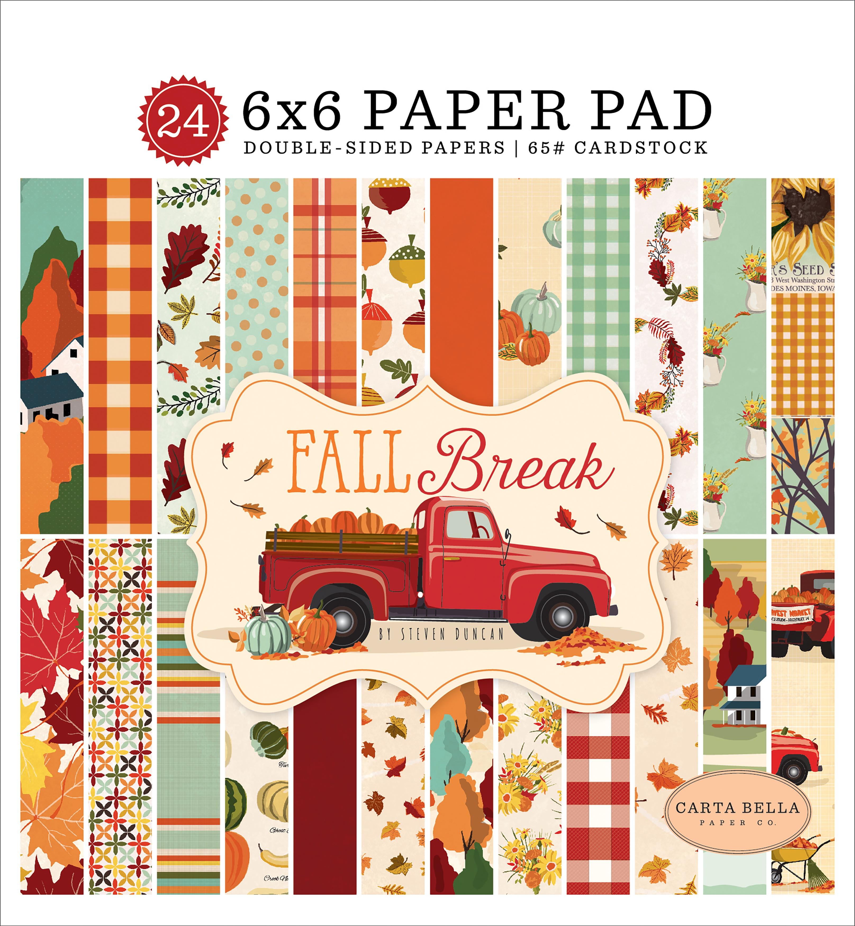 Carta Bella Double-Sided Paper Pad 6X6 24/Pkg-Fall Break, 12 Designs/2 Each