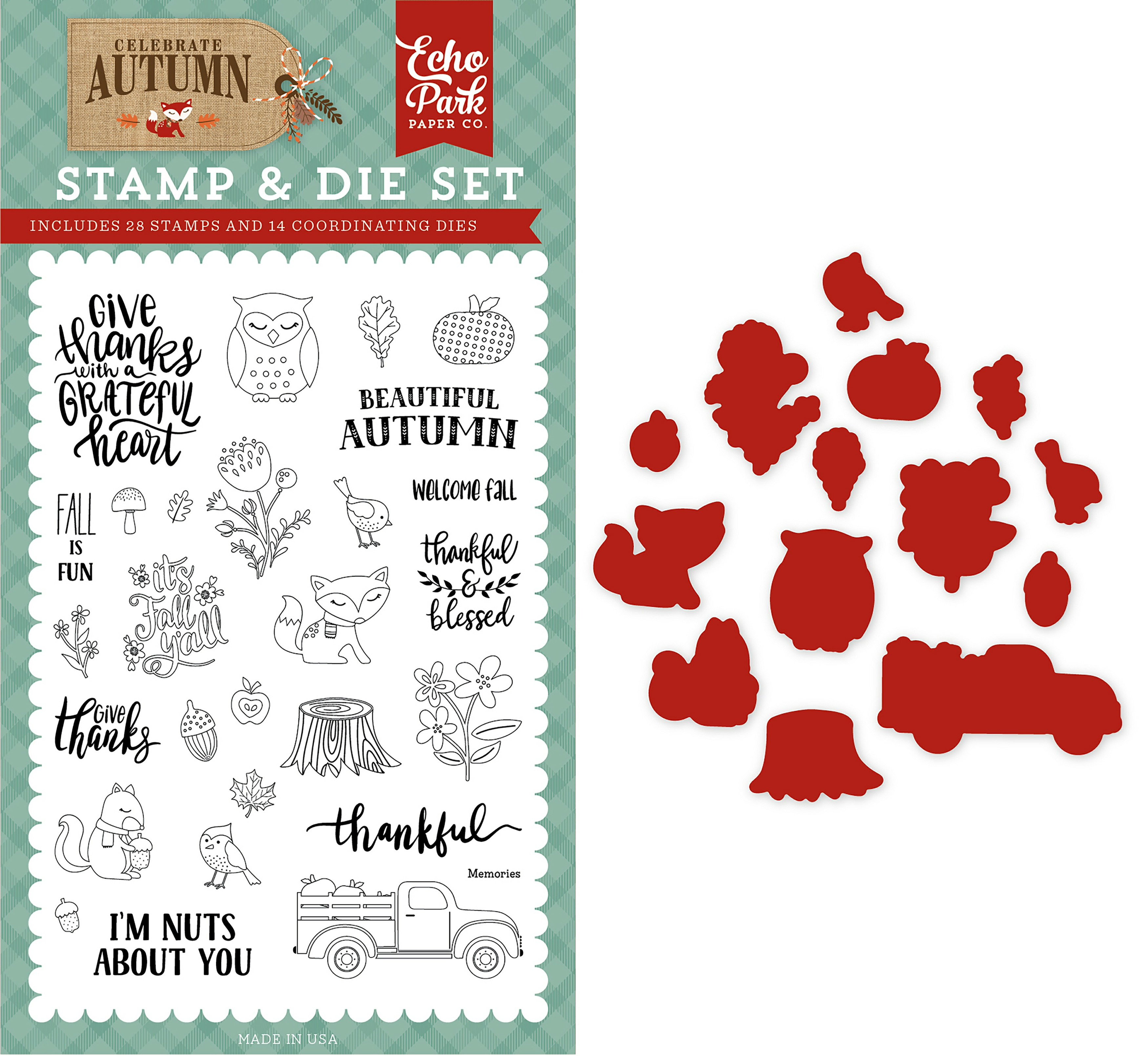 Echo Park Die & Stamp Combo Set-Nuts About You