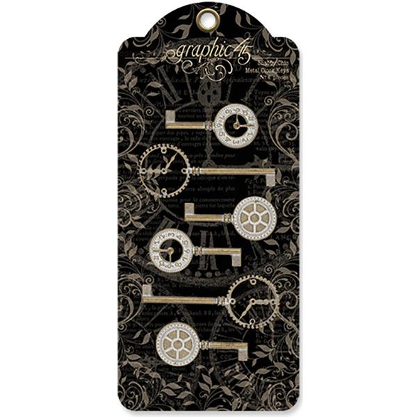 Graphic 45 Staples Metal Clock Keys 6/Pkg-Shabby Chic 2X1 To 3X1.125