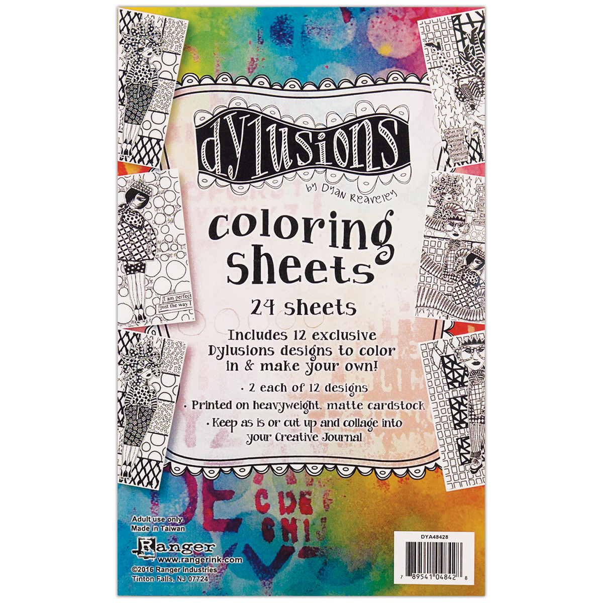 Dyan Reaveley's Dylusions Coloring Sheets 5X8-2 Each Of 12 Designs