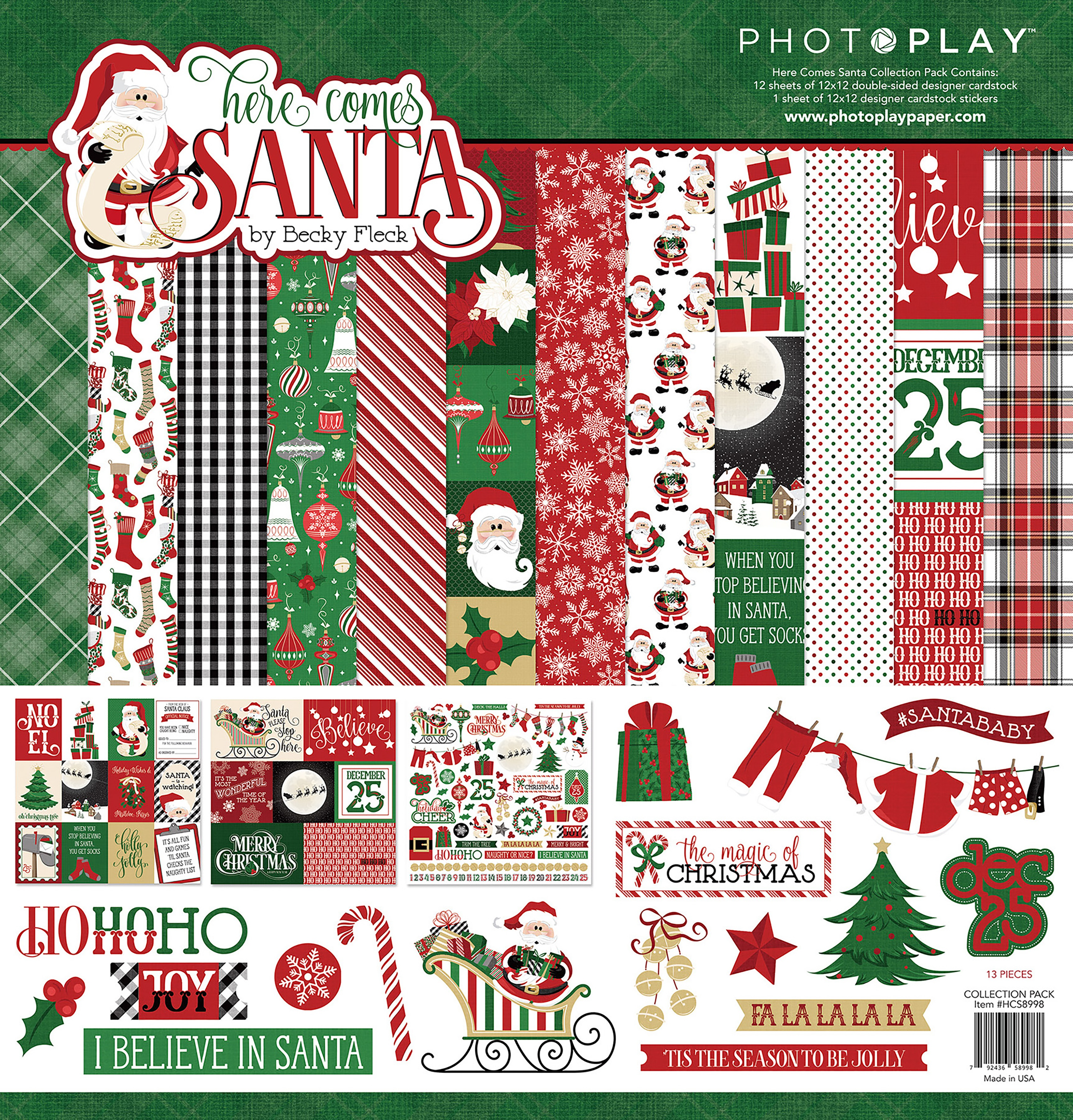 PhotoPlay Collection Pack 12X12-Here Comes Santa