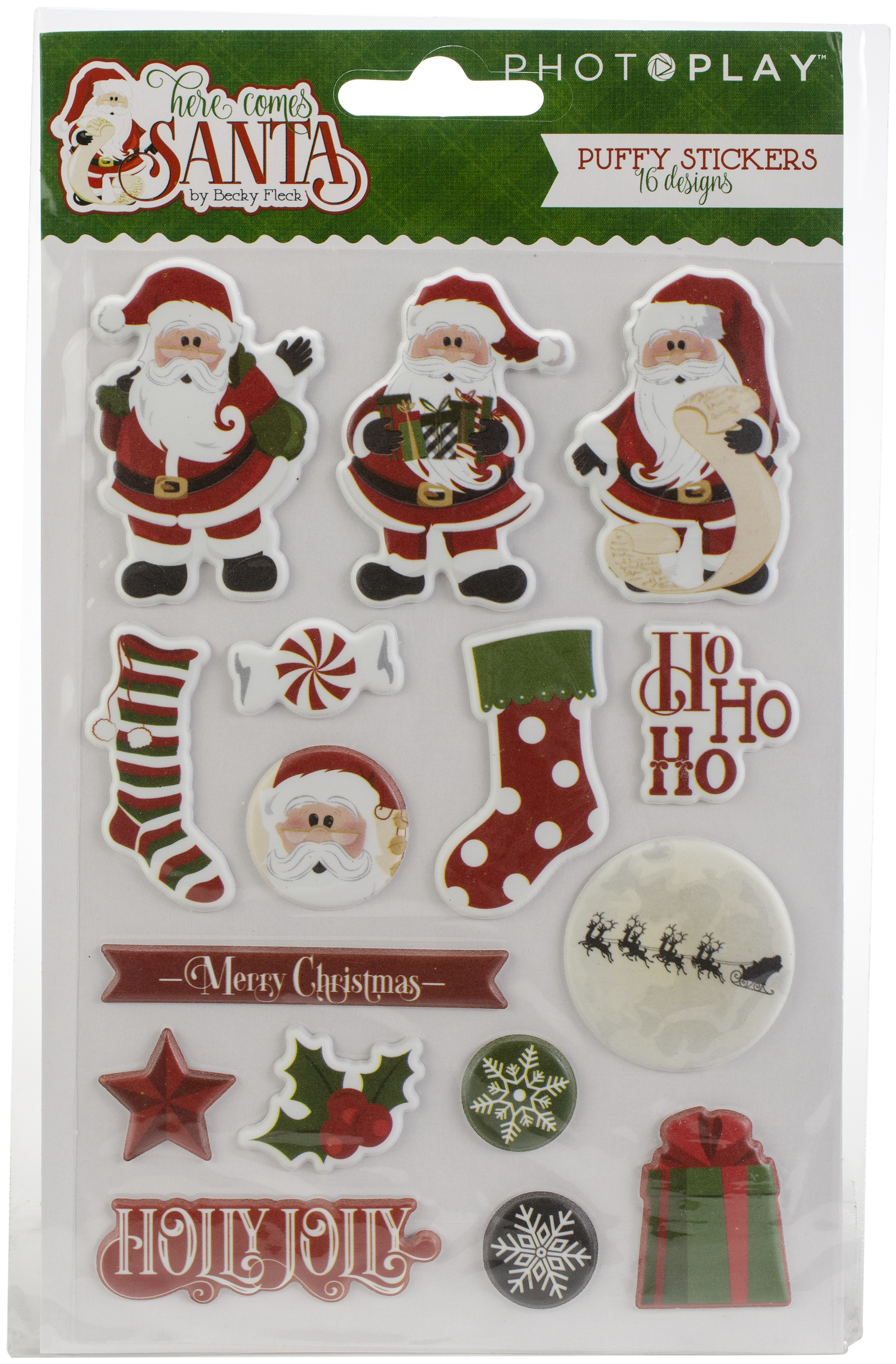Here Comes Santa Puffy Stickers-
