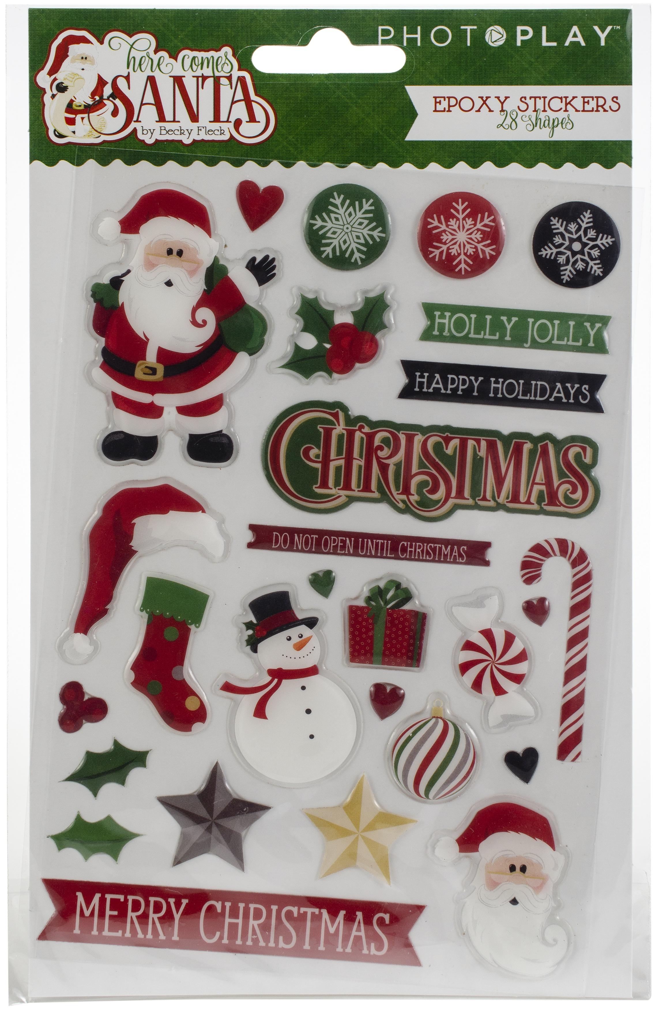 Here Comes Santa Epoxy Stickers 28/Pkg-