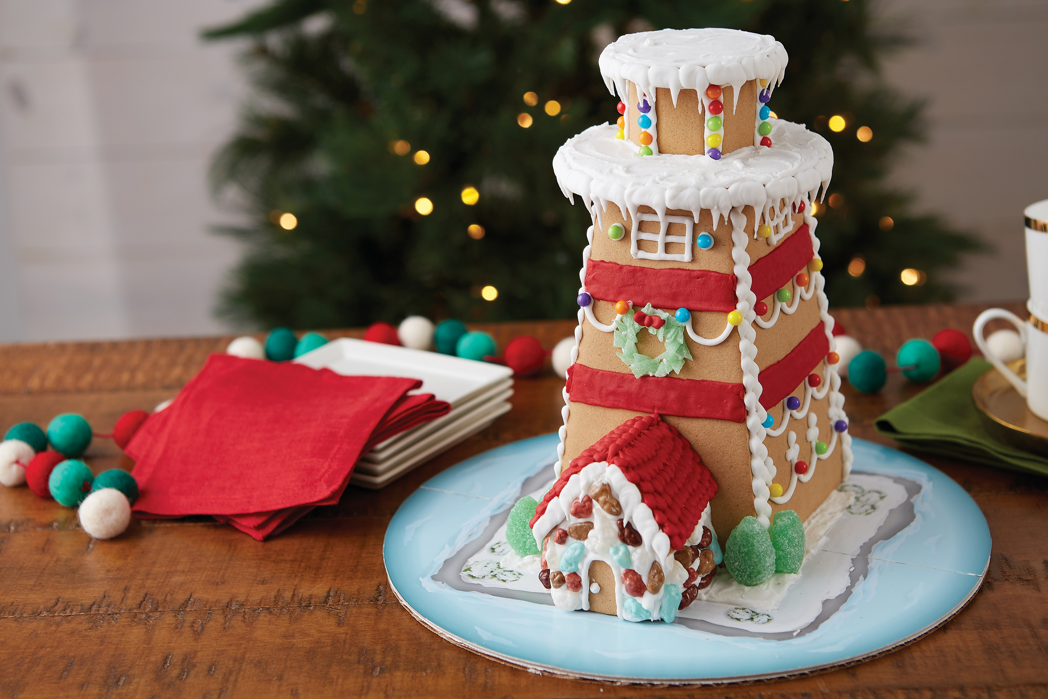 Unassembled Gingerbread House Kit-Lighthouse