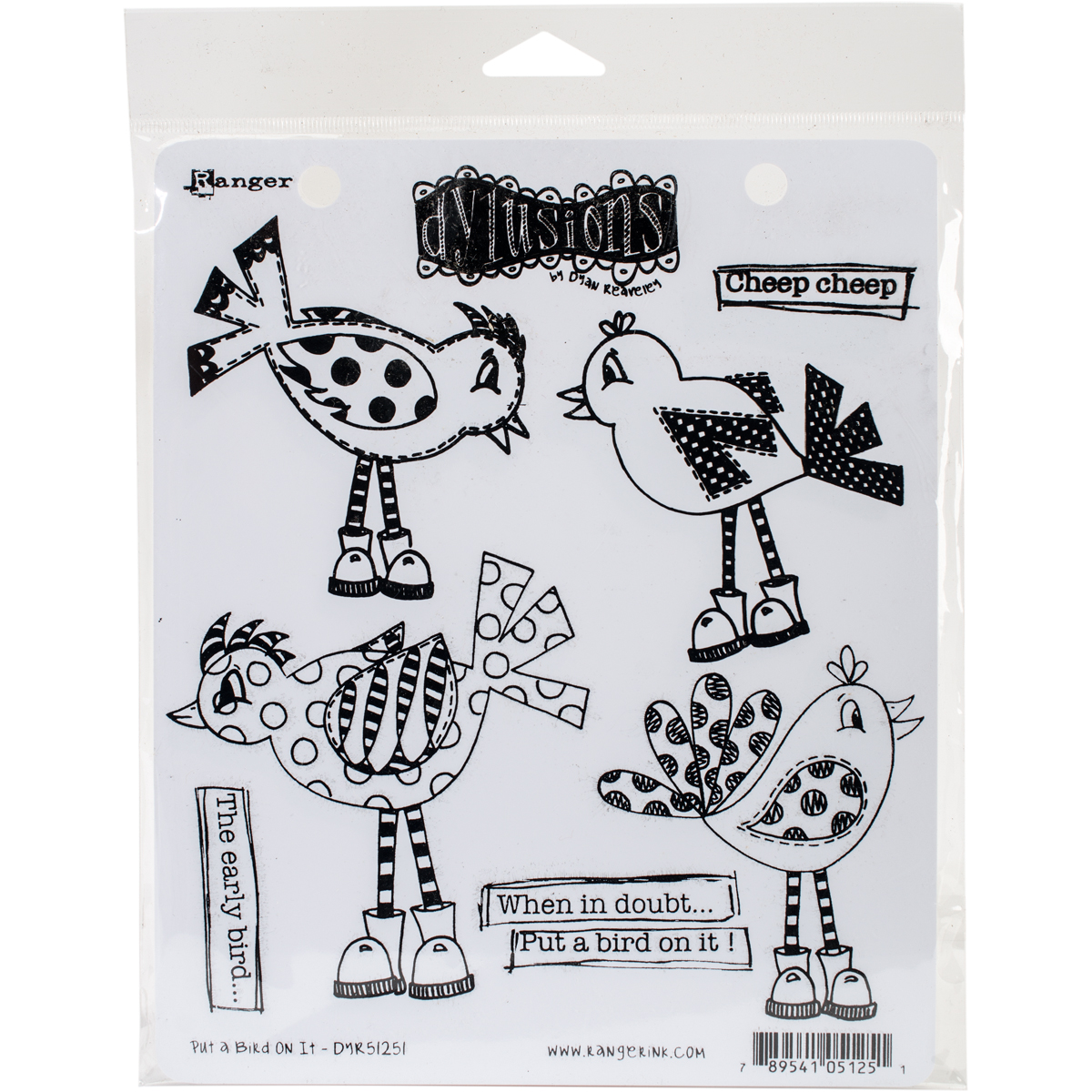 Dyan Reaveley's Dylusions Cling Stamp Collections 8.5X7-Put A Bird On It
