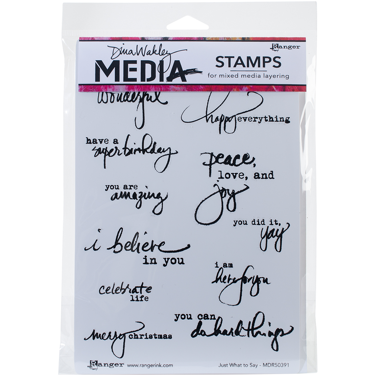 Dina Wakley Media Cling Stamps 6X9-Just What To Say