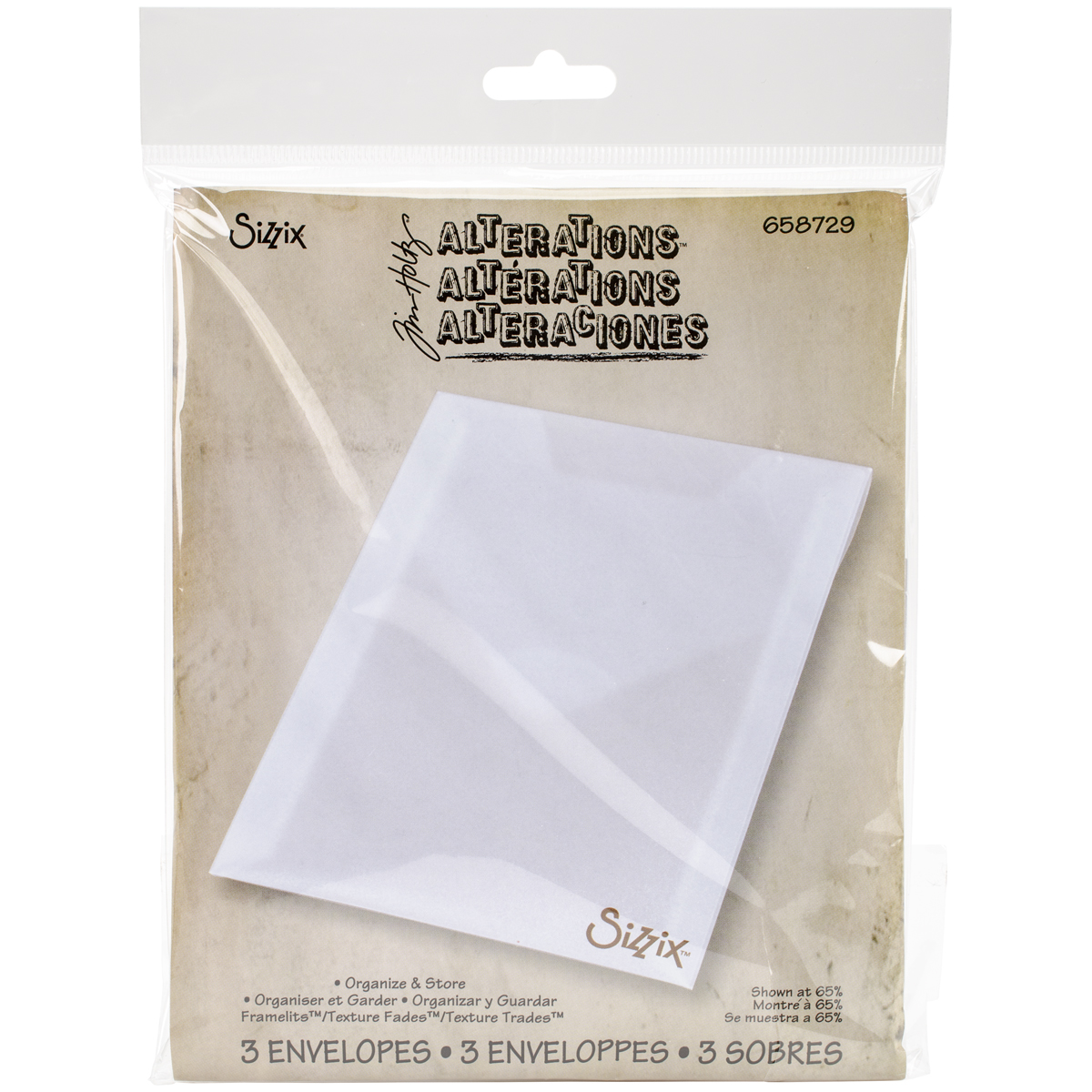 Sizzix Plastic Storage Envelopes 3/Pkg By Tim Holtz-For Dies & Stamps