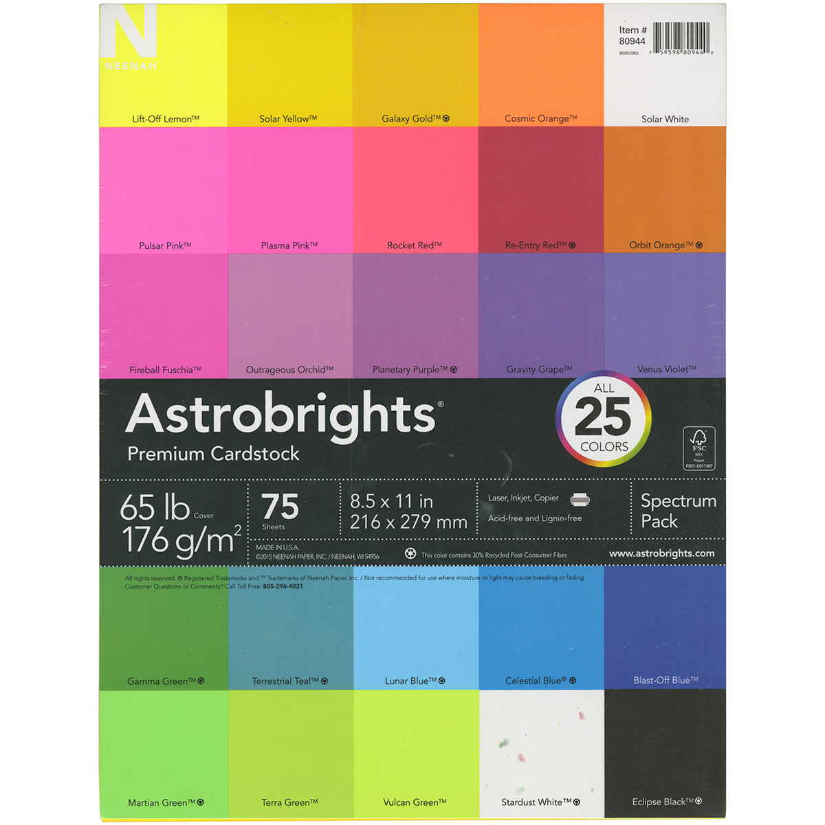 Neenah Astrobrights Spectrum Cardstock Pack 8.5X11 75/Pkg-25 Colors