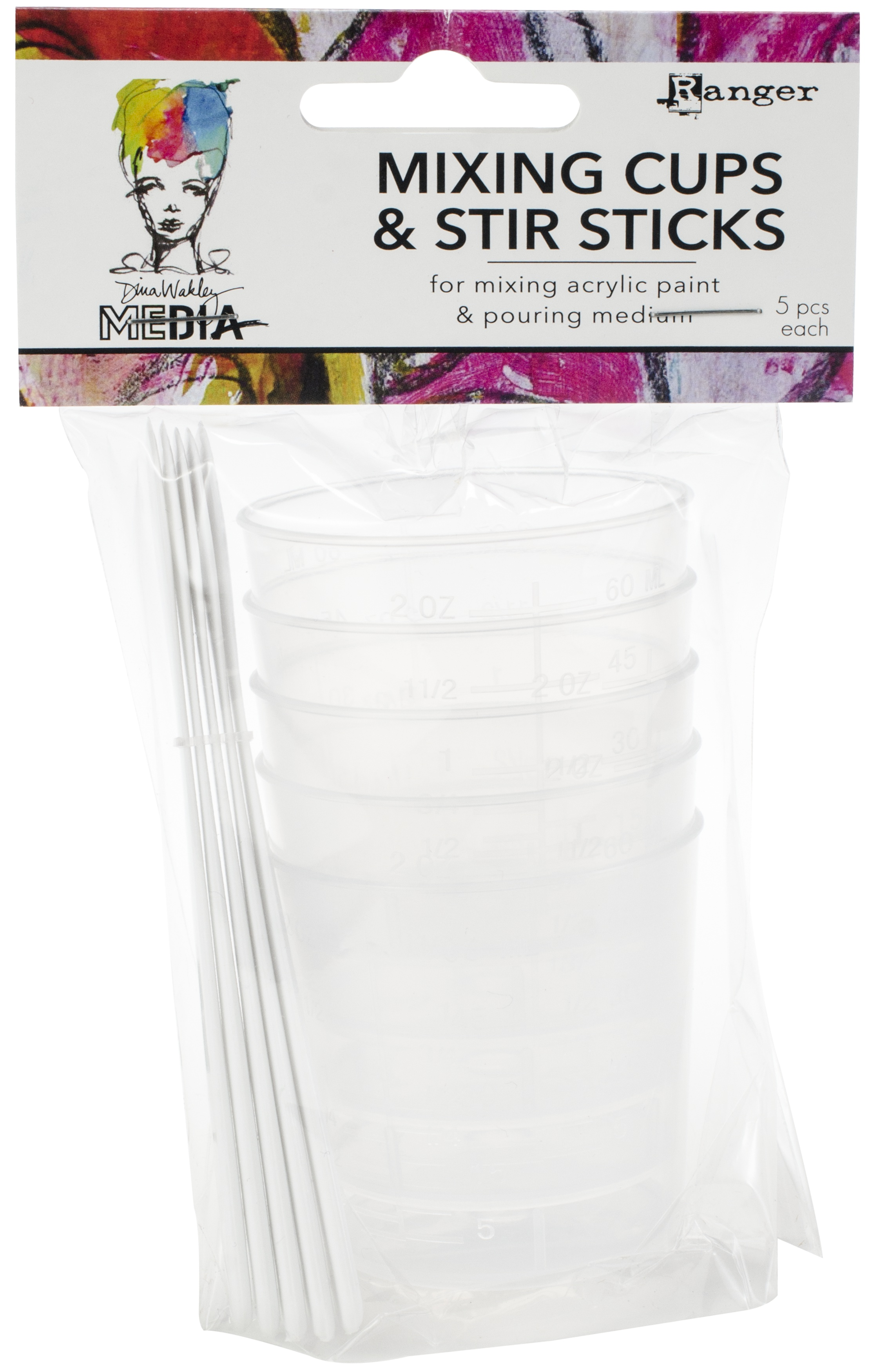Dina Wakley Media Mixing Cups & White Stir Sticks 5/Pkg-