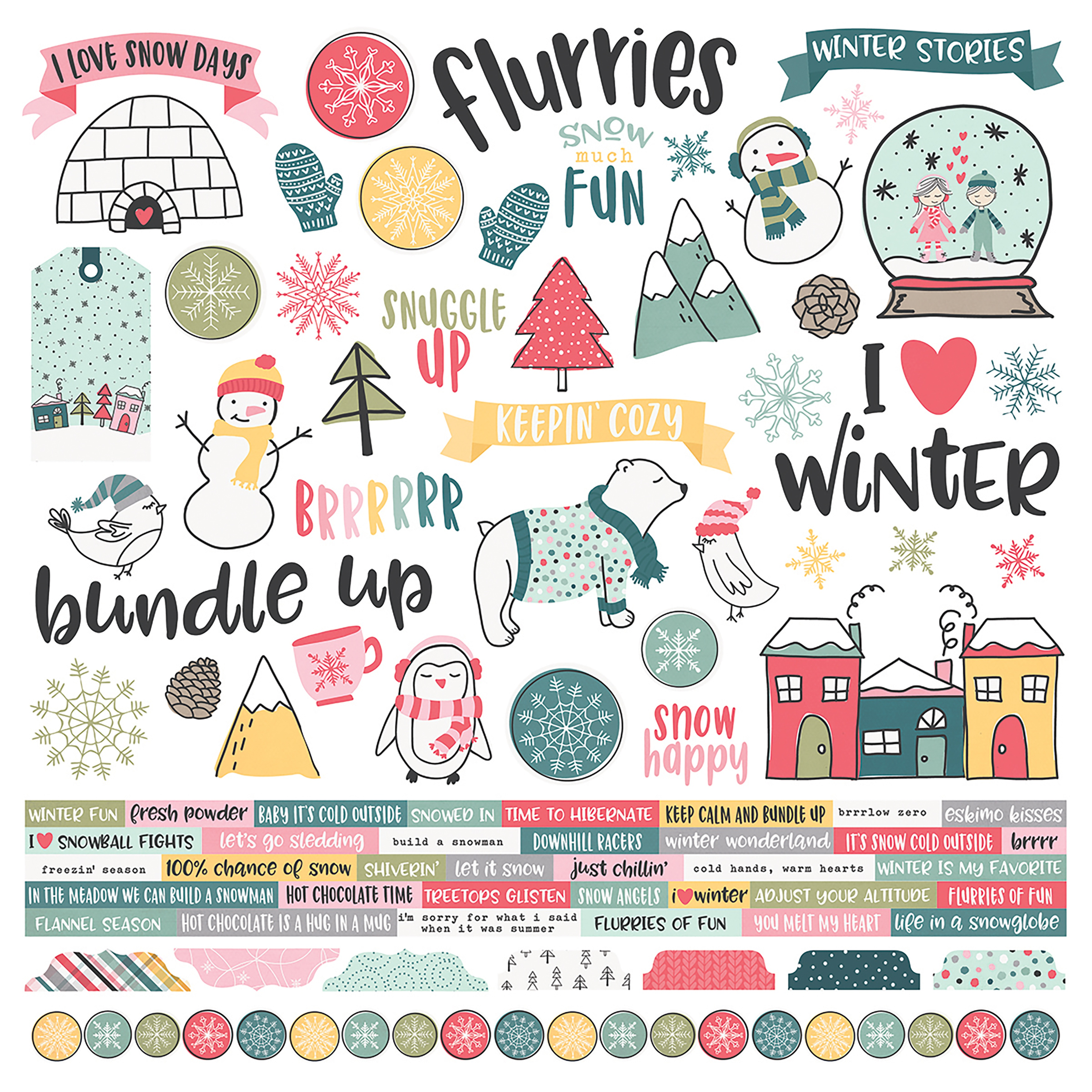 Simple Stories - Freezin' Season Collection - 12x12 Cardstock Stickers