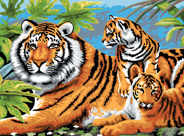 Junior Large Paint By Number Kit 15.25X11.25-Tiger & Cubs