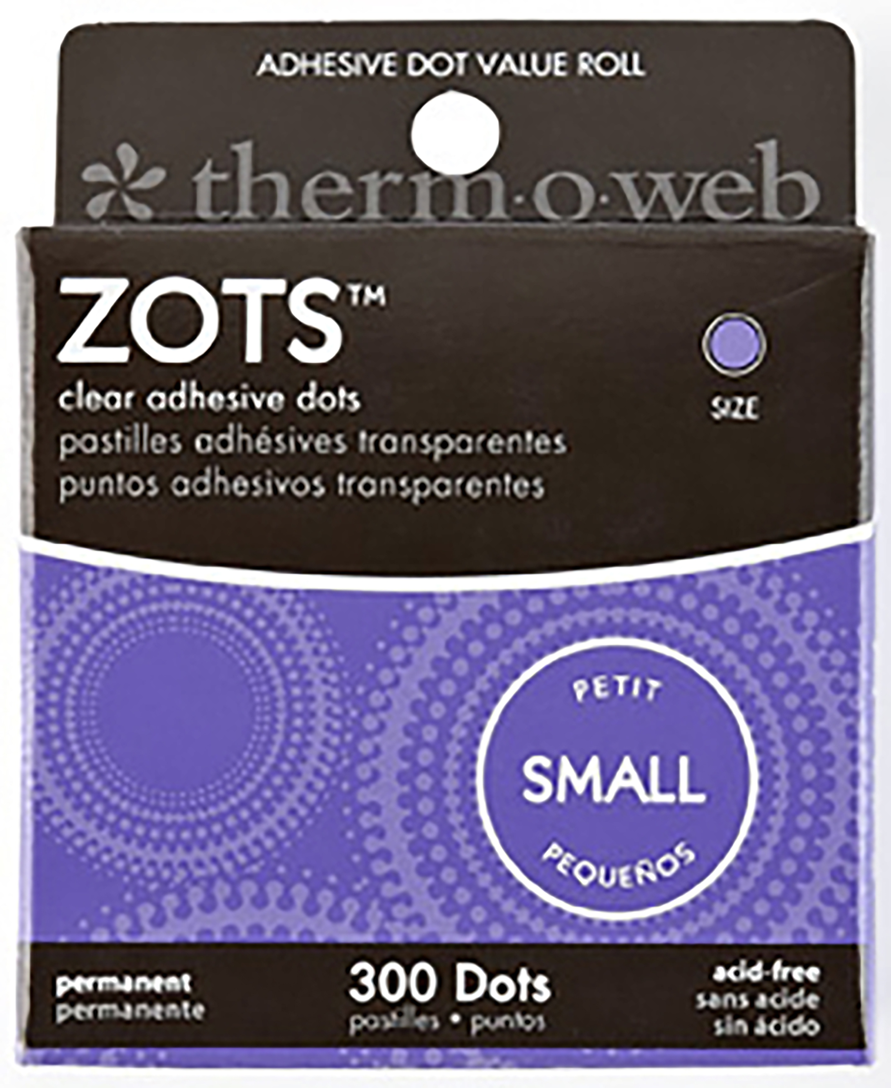 Zots Clear Adhesive Dots-Small 3/16X1/64 Thick 300/Pkg