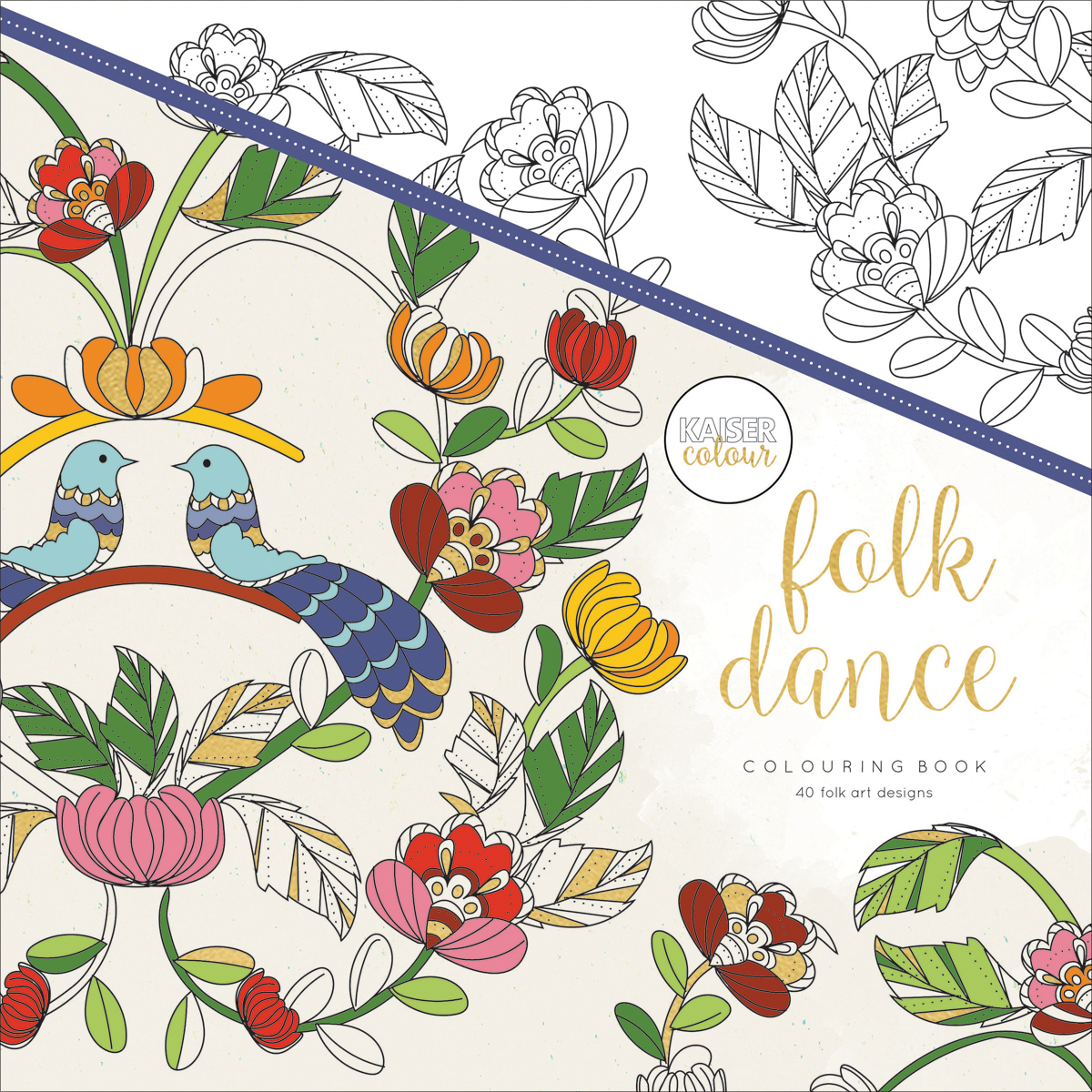 KaiserColour Perfect Bound Coloring Book 9.75X9.75-Folk Dance