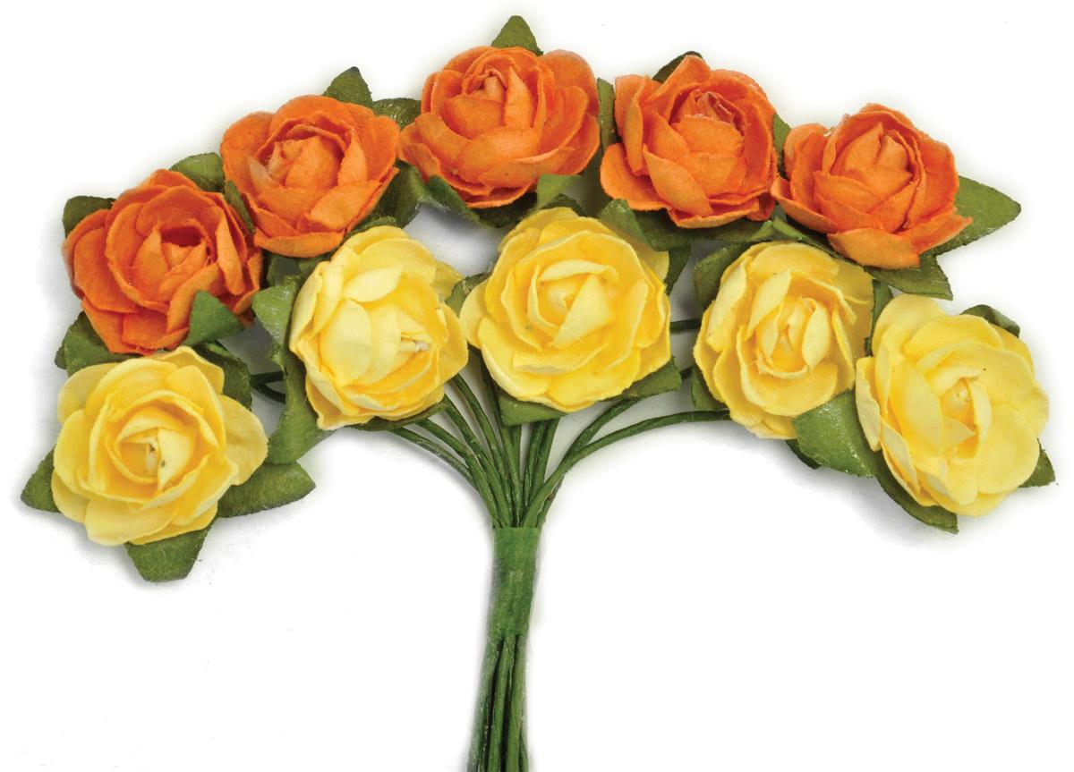 Kaisercraft Mini Paper Blooms Flowers W/Wire Stem 10/Pkg-Sunset, .5