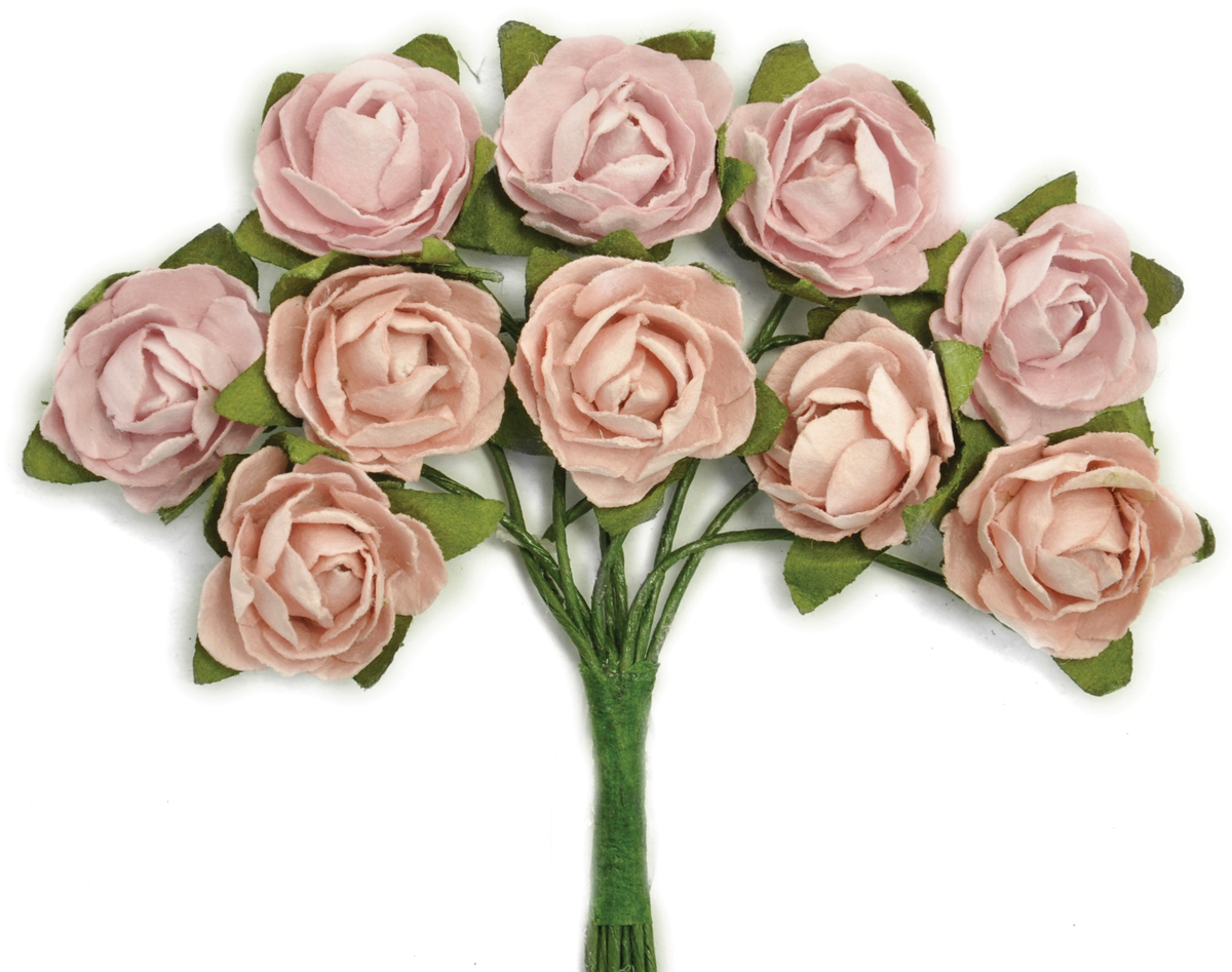 Kaisercraft Mini Paper Blooms Flowers W/Wire Stem 10/Pkg-Dusty Pink, .5