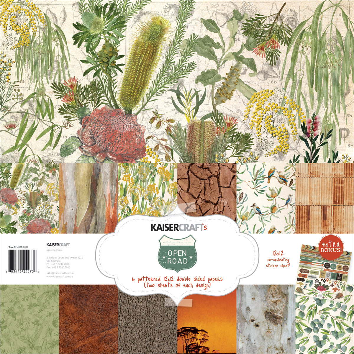 Kaisercraft Paper Pack 12X12 12/Pkg-Open Road