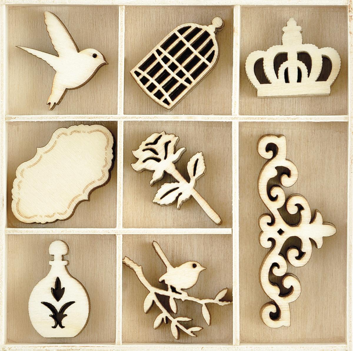 Kaisercraft Wood Mini Themed Embellishments-Pretty, 40/Pkg