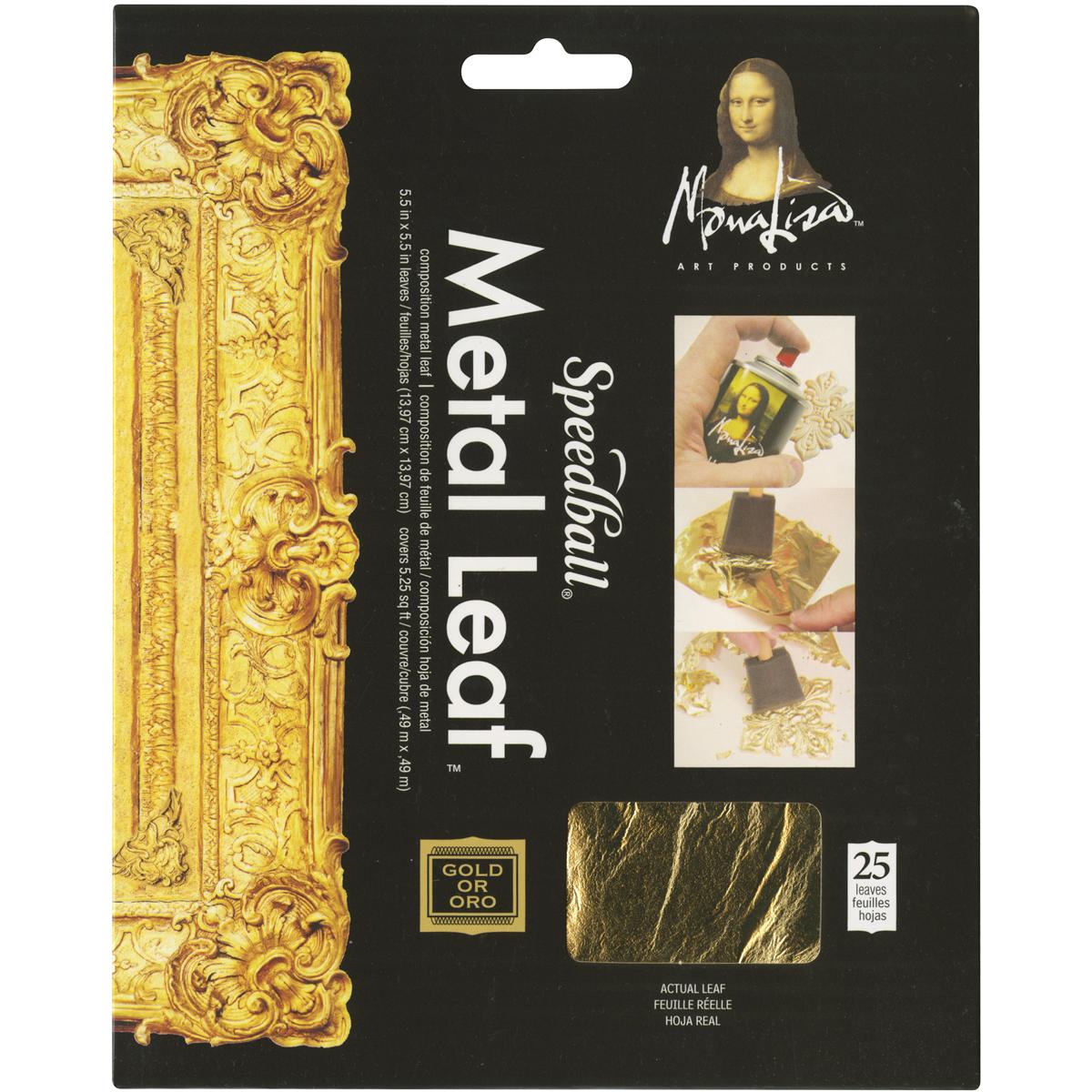 Mona Lisa Metal Leaf Sheets 5.5X5.5 25/Pkg-Gold