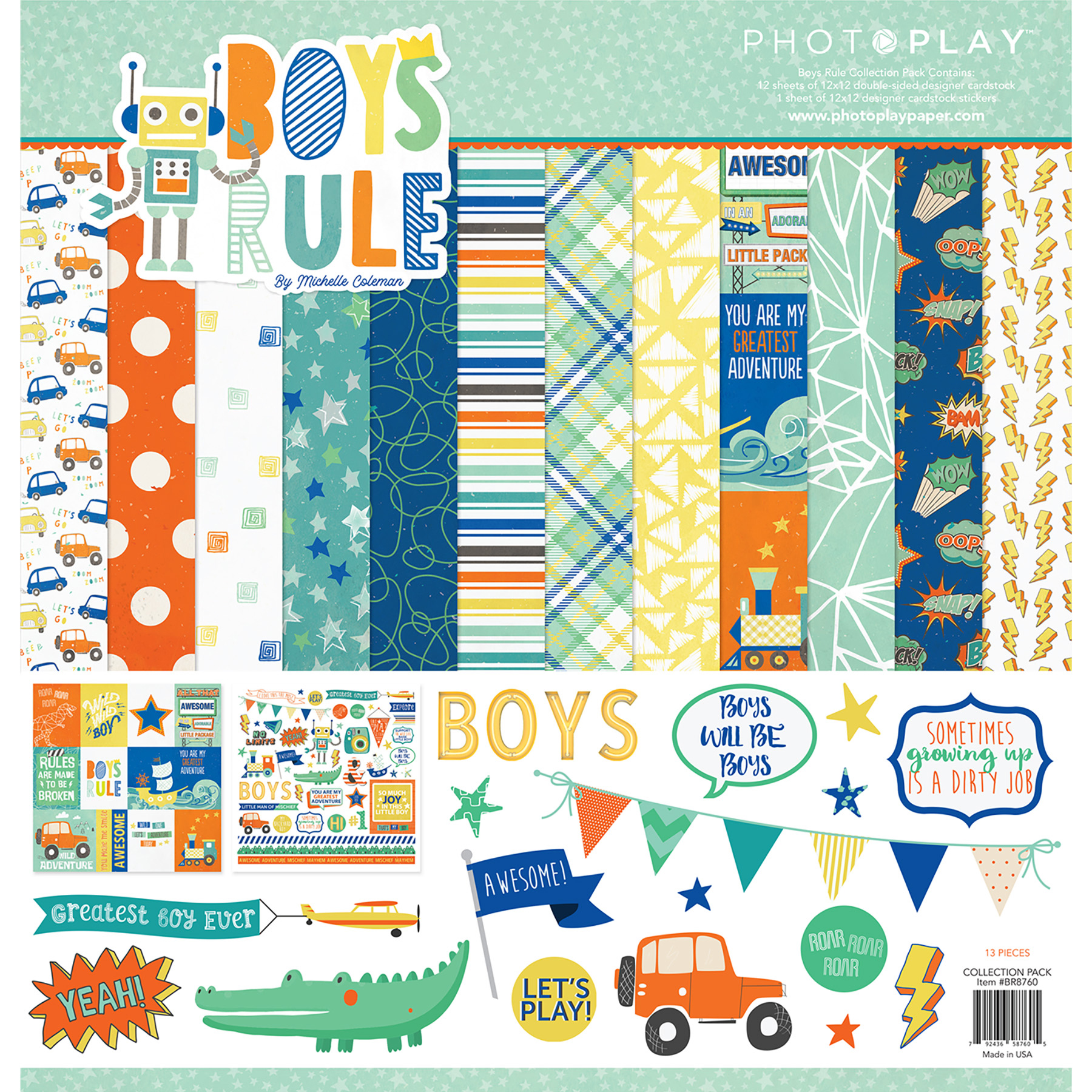 PhotoPlay Collection Pack 12X12-Boys Rule