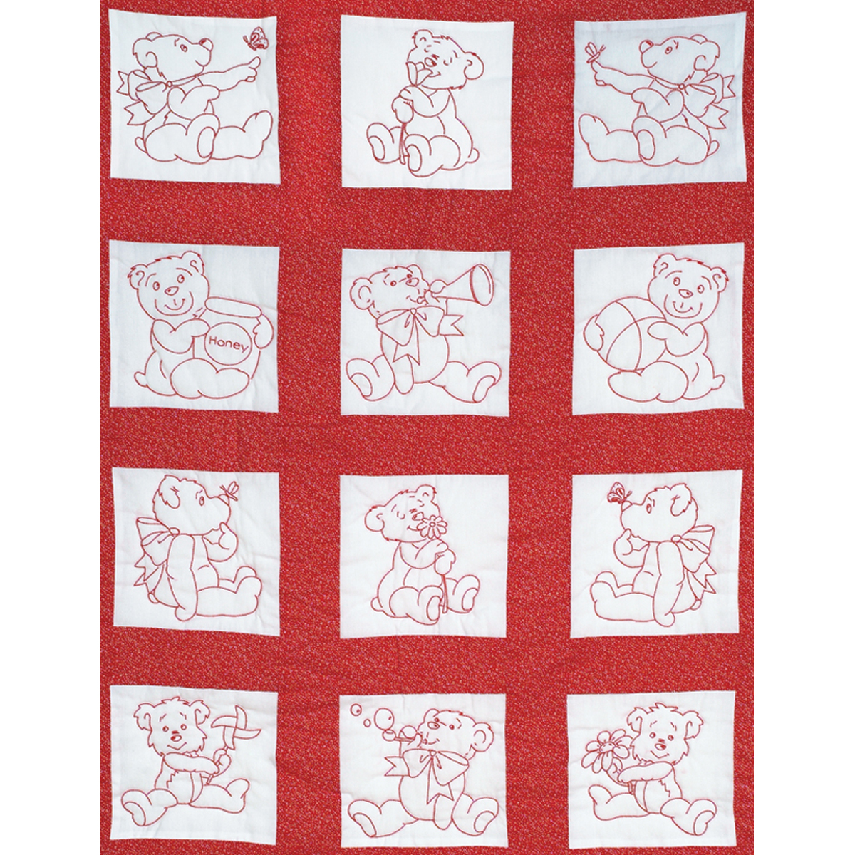 Stamped Embroidery Blocks - 9in - Baby Bears