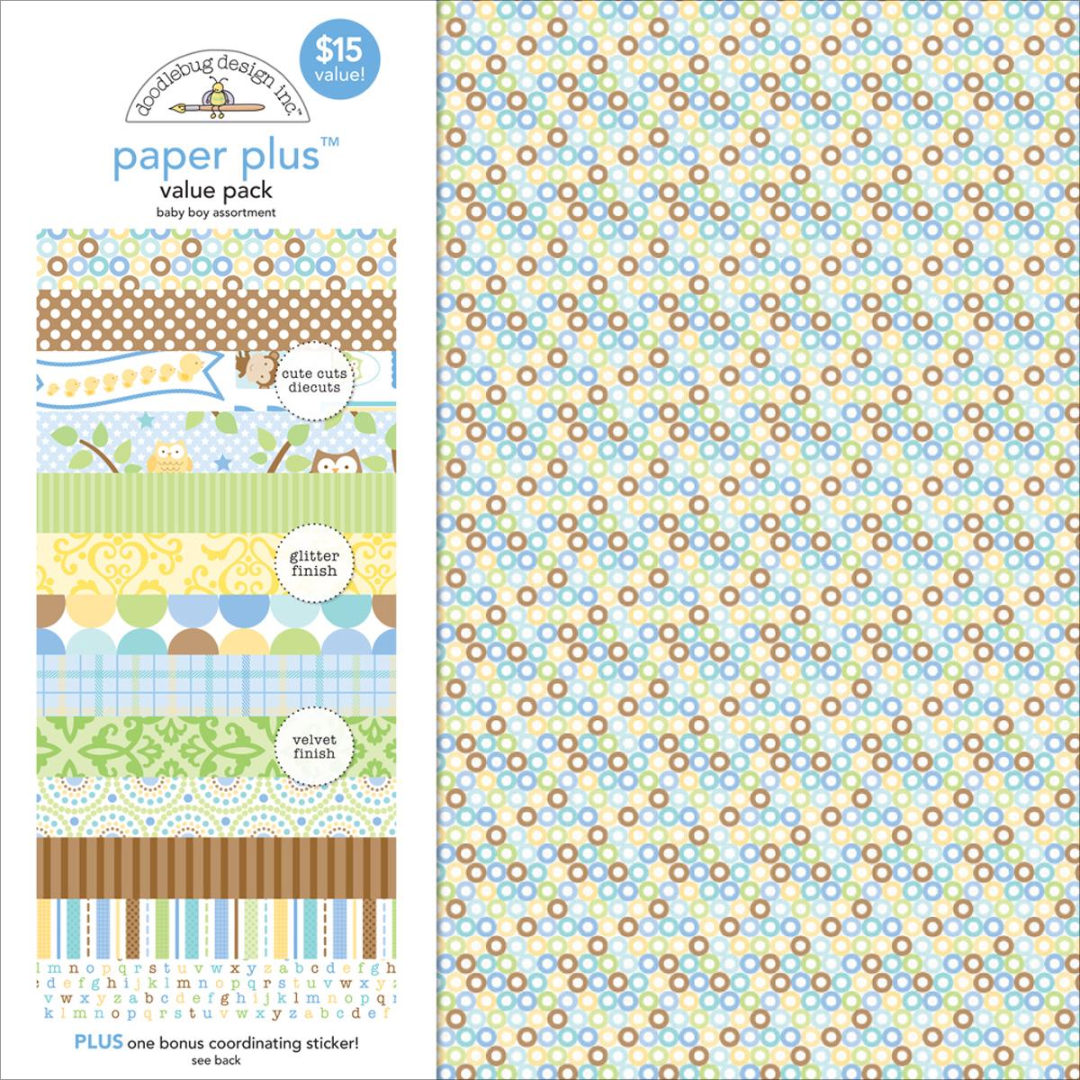 ^Doodlebug Baby Boy Assortment - 12x12 Paper Plus Value Pack