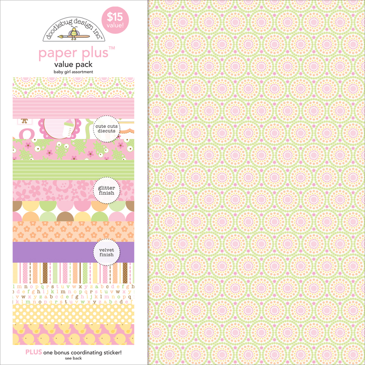 ^Doodlebug Baby Girl Assortment - 12x12 Paper Plus Value Pack