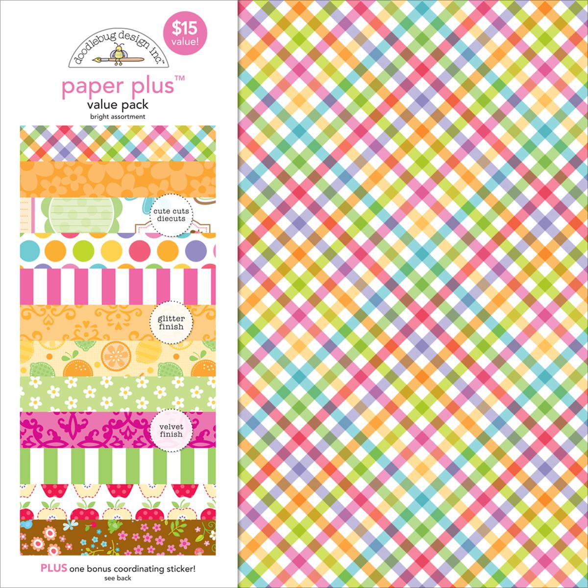 Doodlebug Paper Plus Value Pack 12X12-Bright