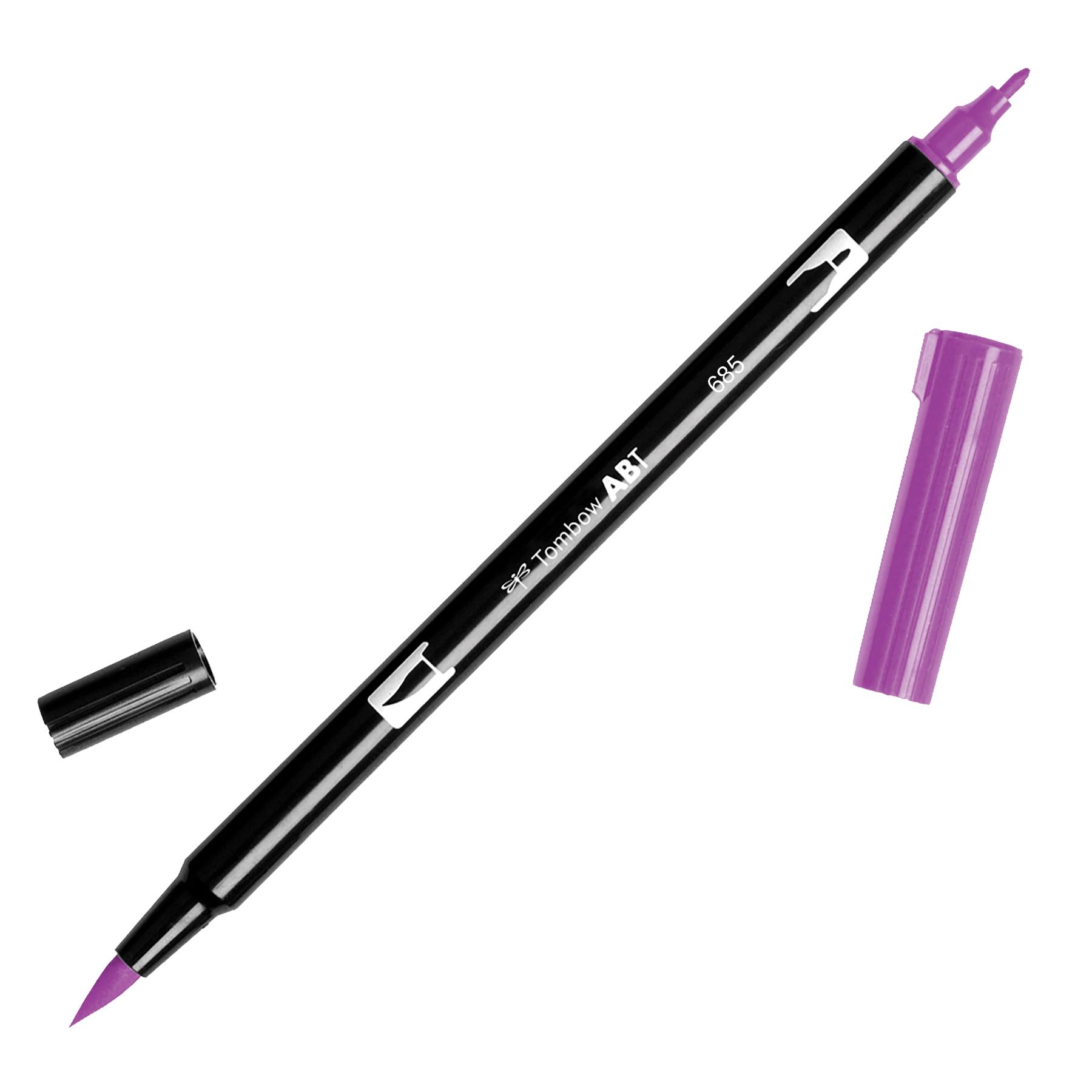 Tombow Dual Brush Marker Open Stock-685 Deep Magenta