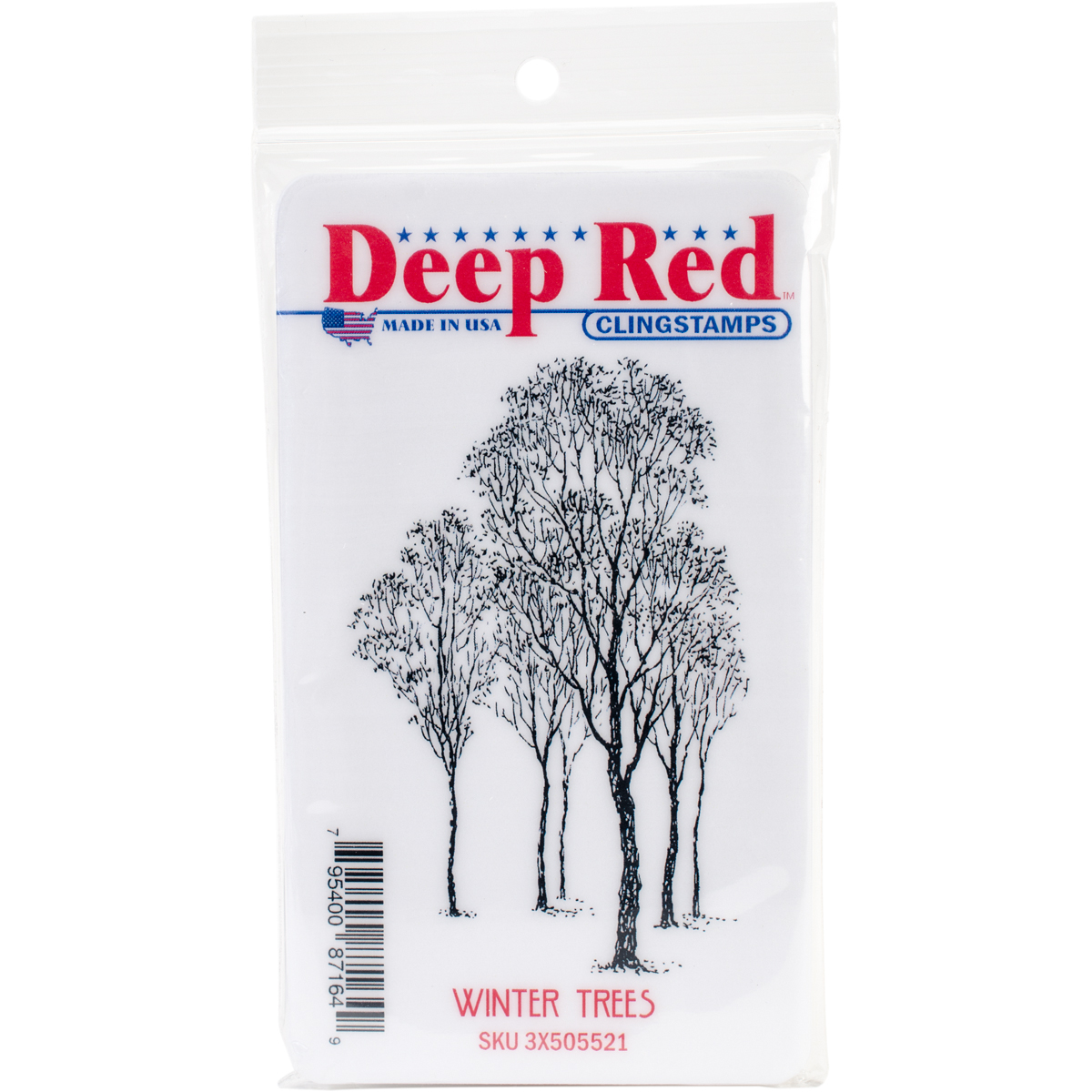 Deep Red Cling Stamp 2X3.2-Winter Trees