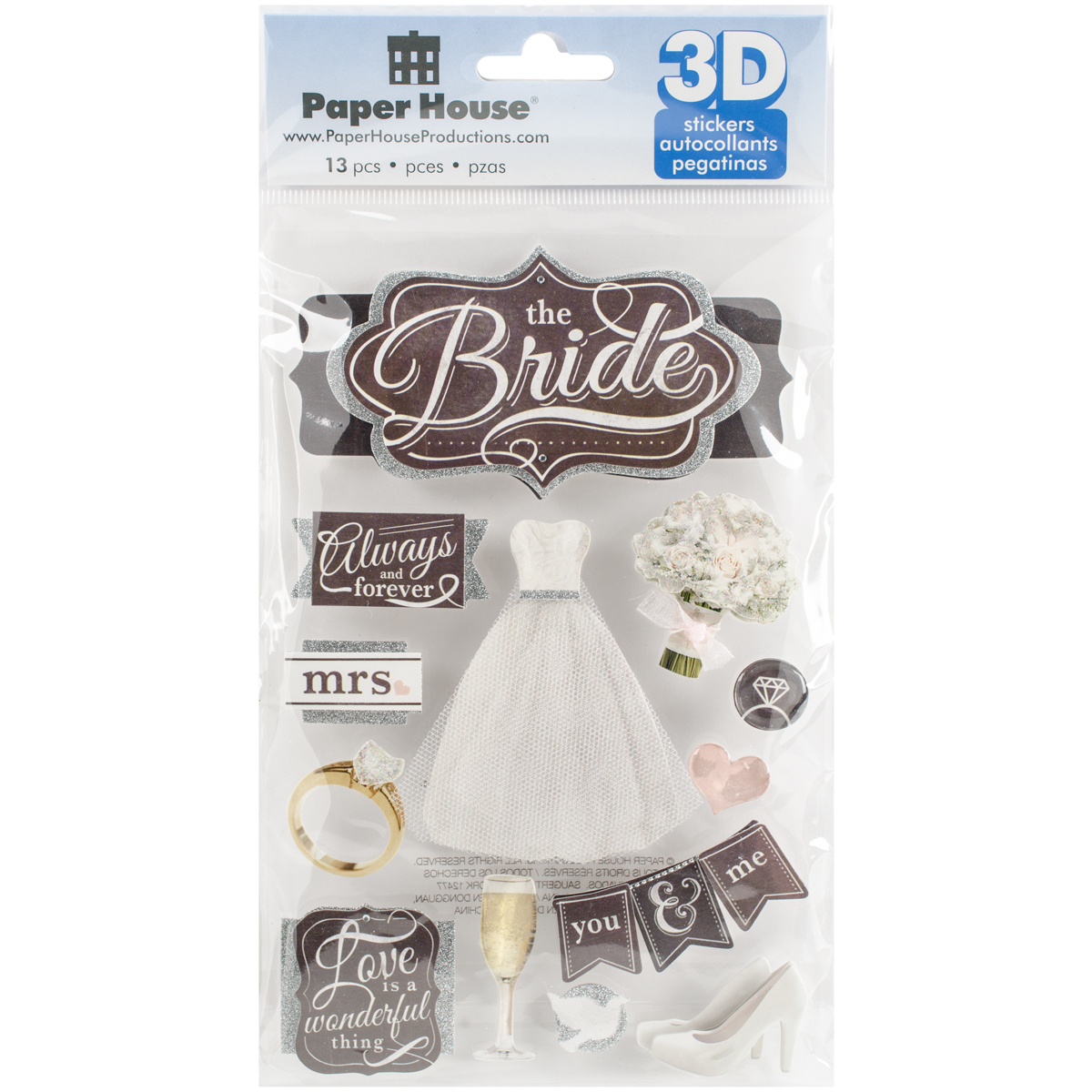 Paper House 3D Stickers 4.5X7.5 -The Bride