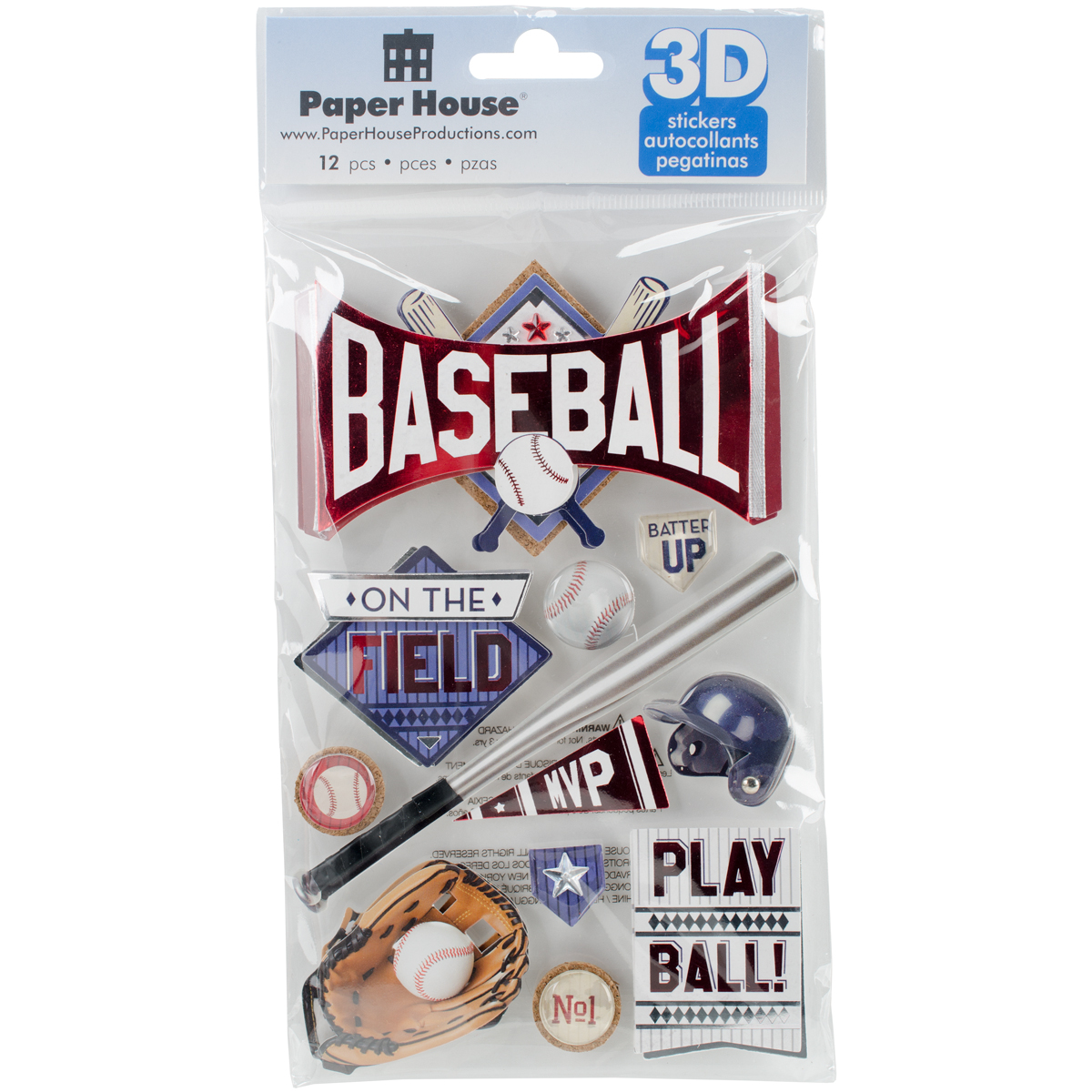 Paper House 3D Stickers 4.5X7.5 -Baseball Batter Up