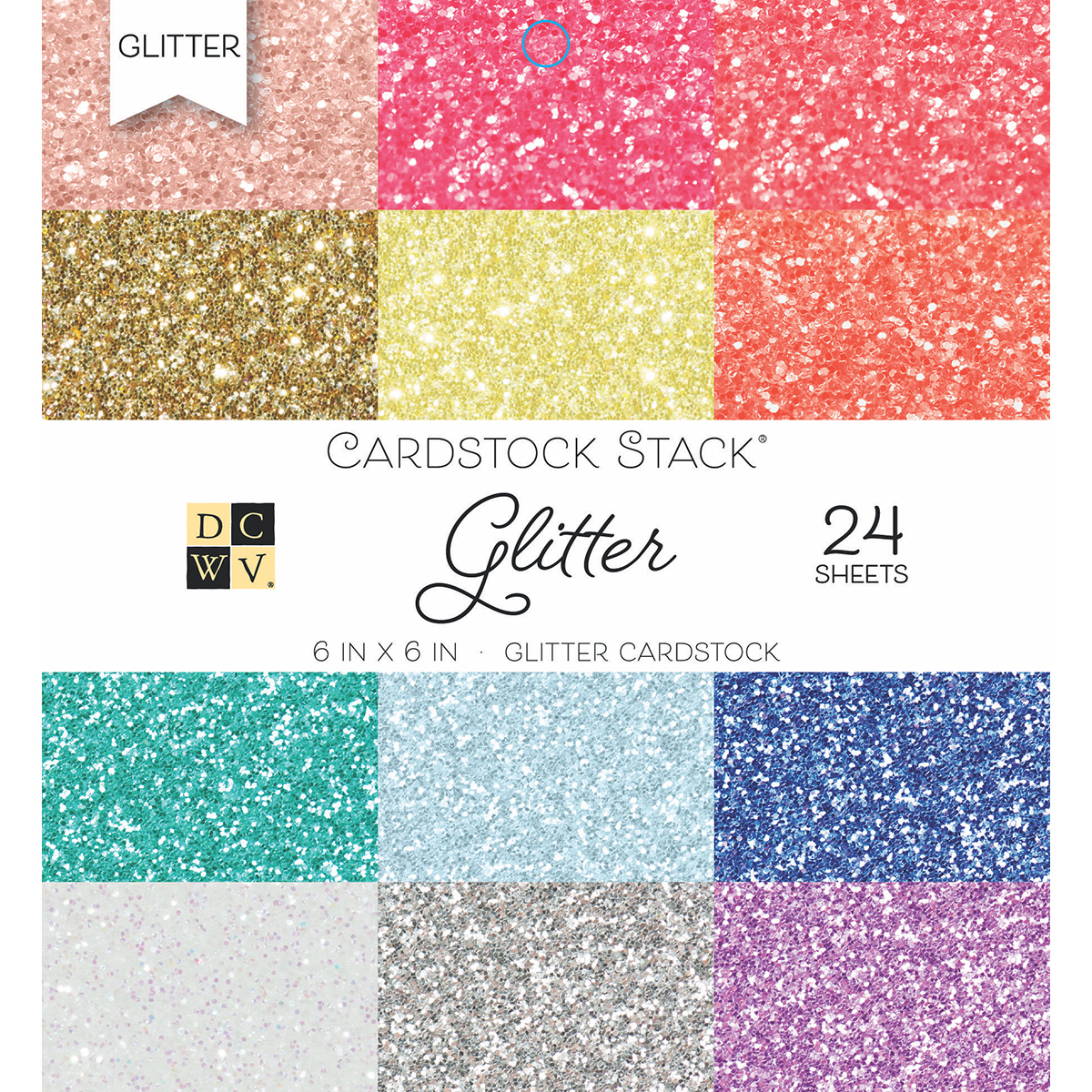 DCWV Single-Sided Cardstock Stack 6X6 24/Pkg-Glitter 12 Colors/2 Each