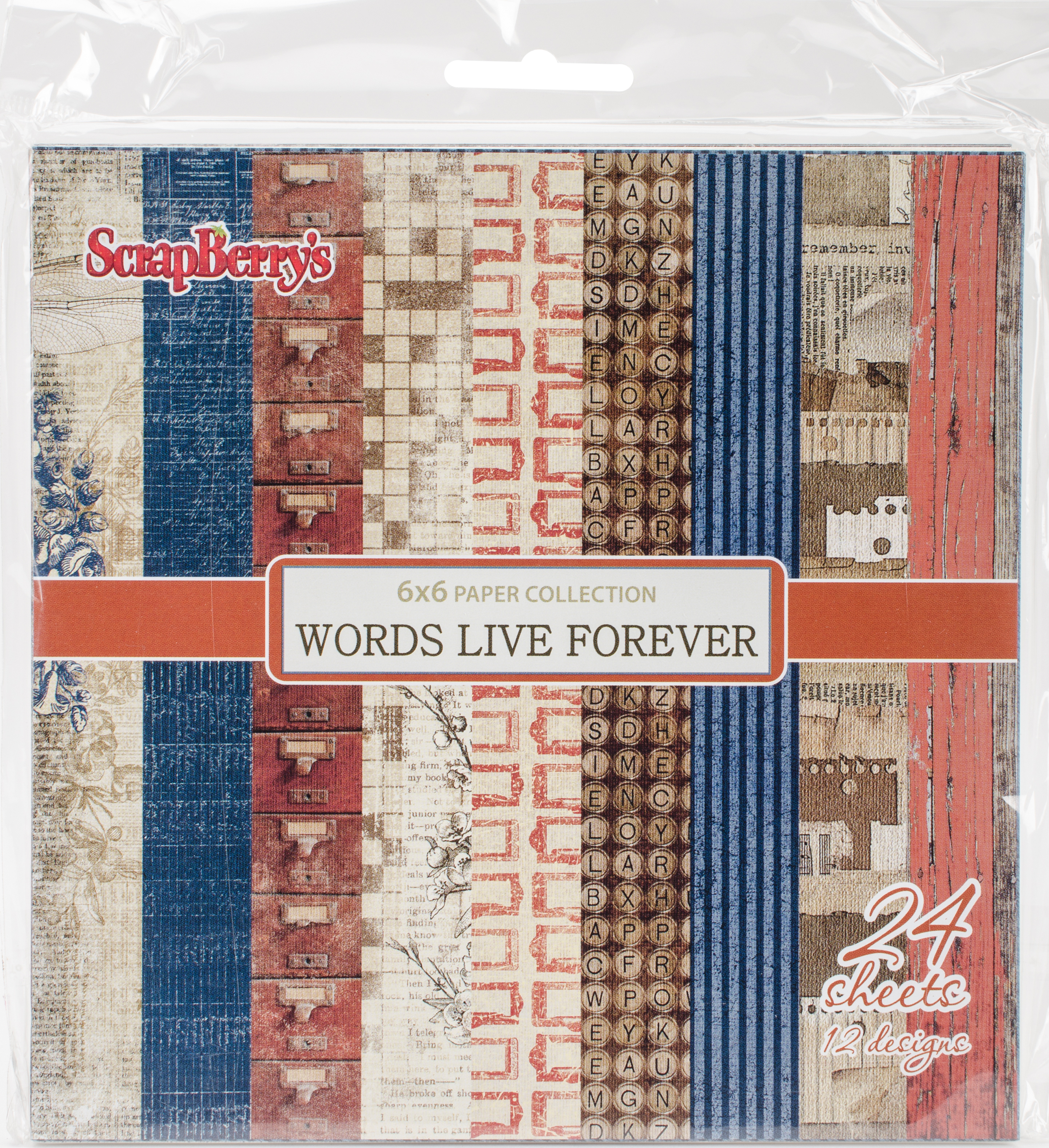 ScrapBerry's Words Live Forever Paper Pack 6X6 24/Pkg-12 Single-Sided Designs/2 Each