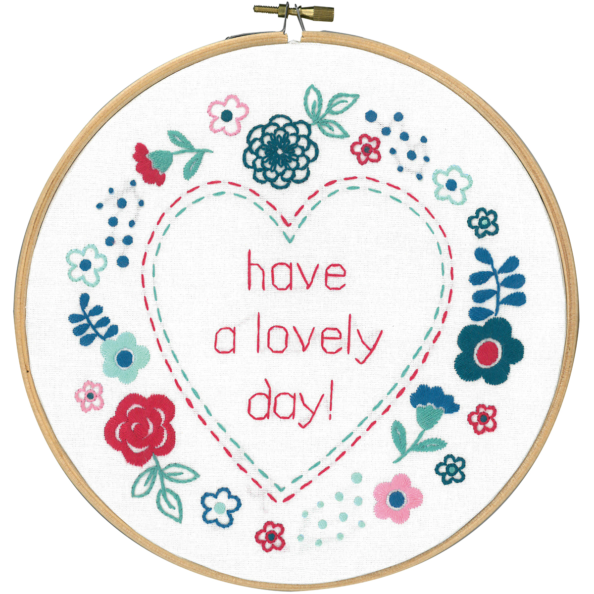 Vervaco Stamped Embroidery Kit 8 Round-Modern Flowers Lovely Day - copy