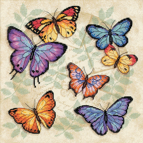 Dimensions Counted Cross Stitch Kit 11X11-Butterfly Profusion (14 Count)