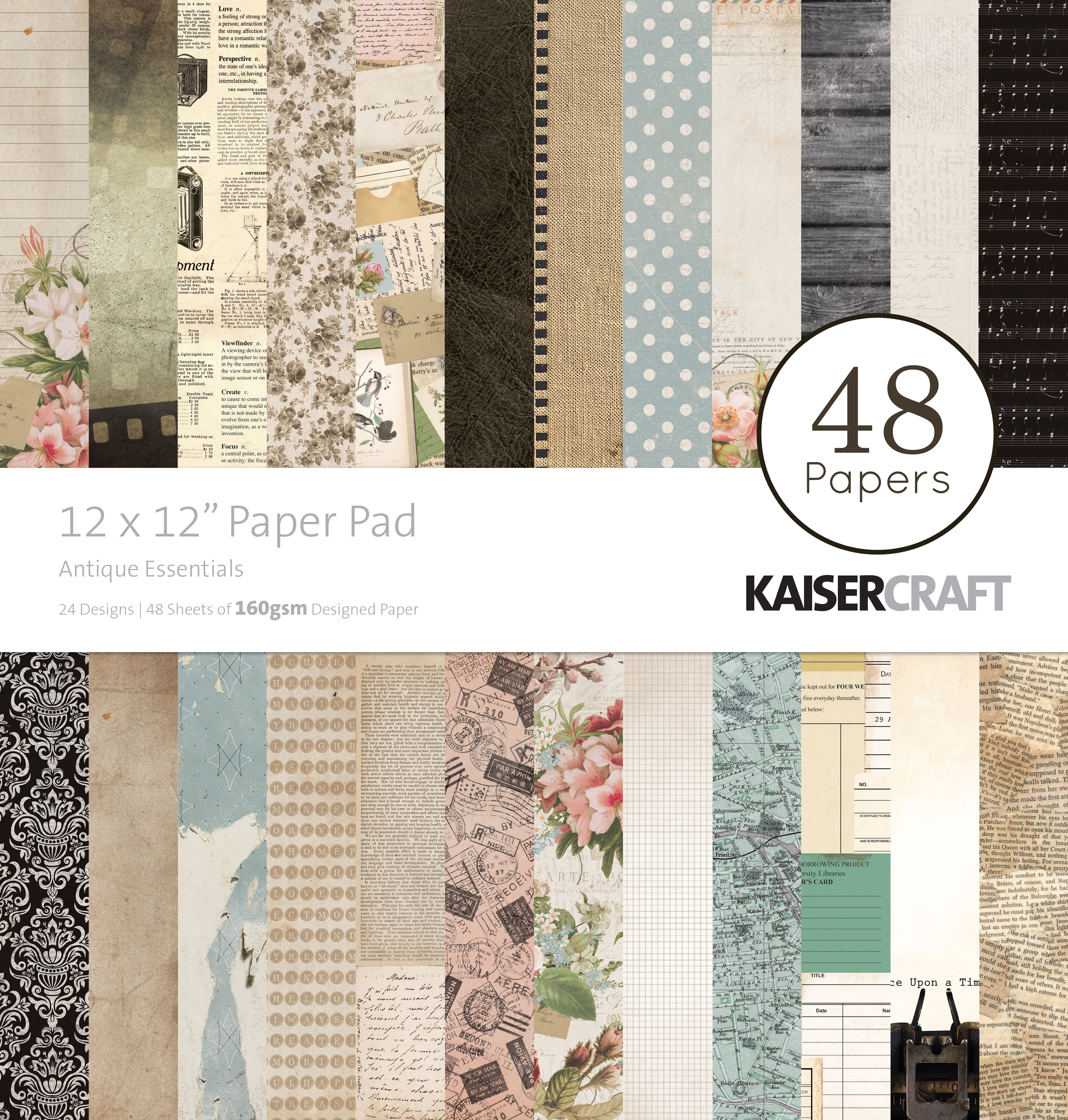 Kaisercraft Paper Pad 12X12 48/Pkg-Antique Essentials