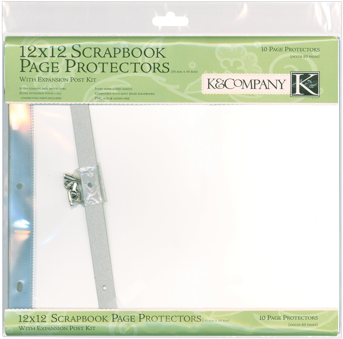 K&Company Post Bound Page Protector Refills 12X12 10/Pkg-W/White Inserts