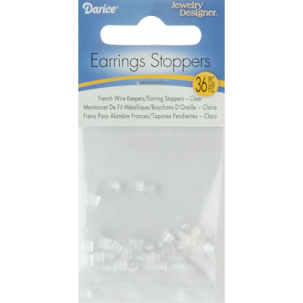 Darice Earrings Stoppers Clear 36pc