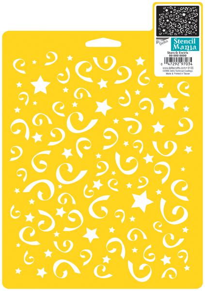 Stencil Mania Stencil 7X10-Stars & Swirls