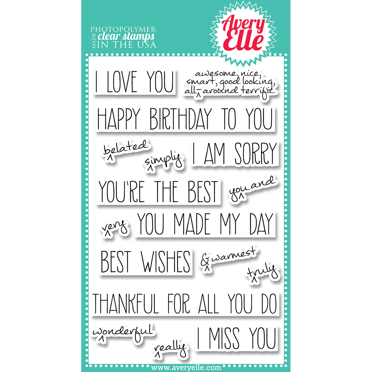 Avery Elle Clear Stamp Set - Handwritten Notes