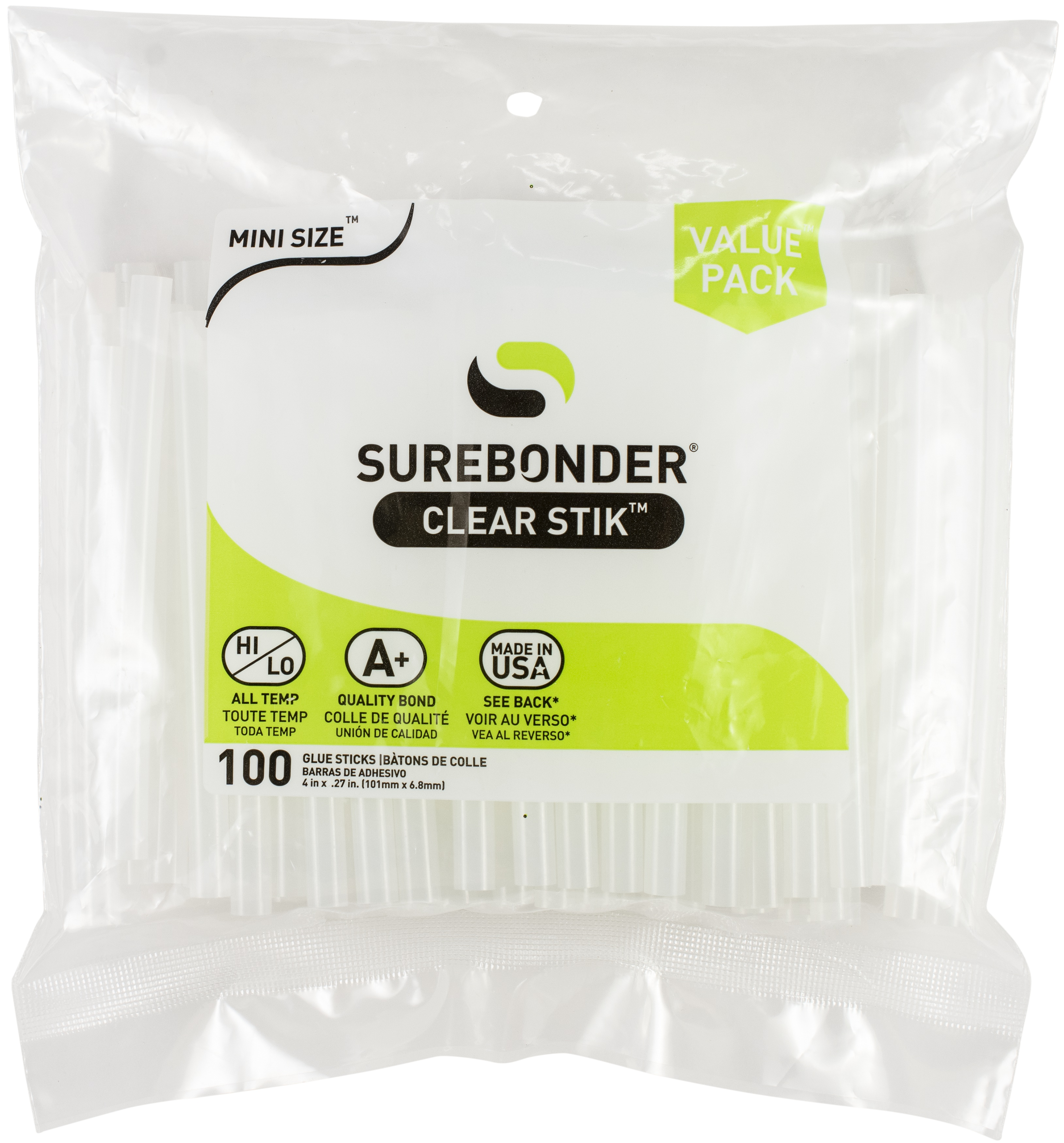 All-Purpose Stik Mini Glue Sticks-.28X4 100/Pkg