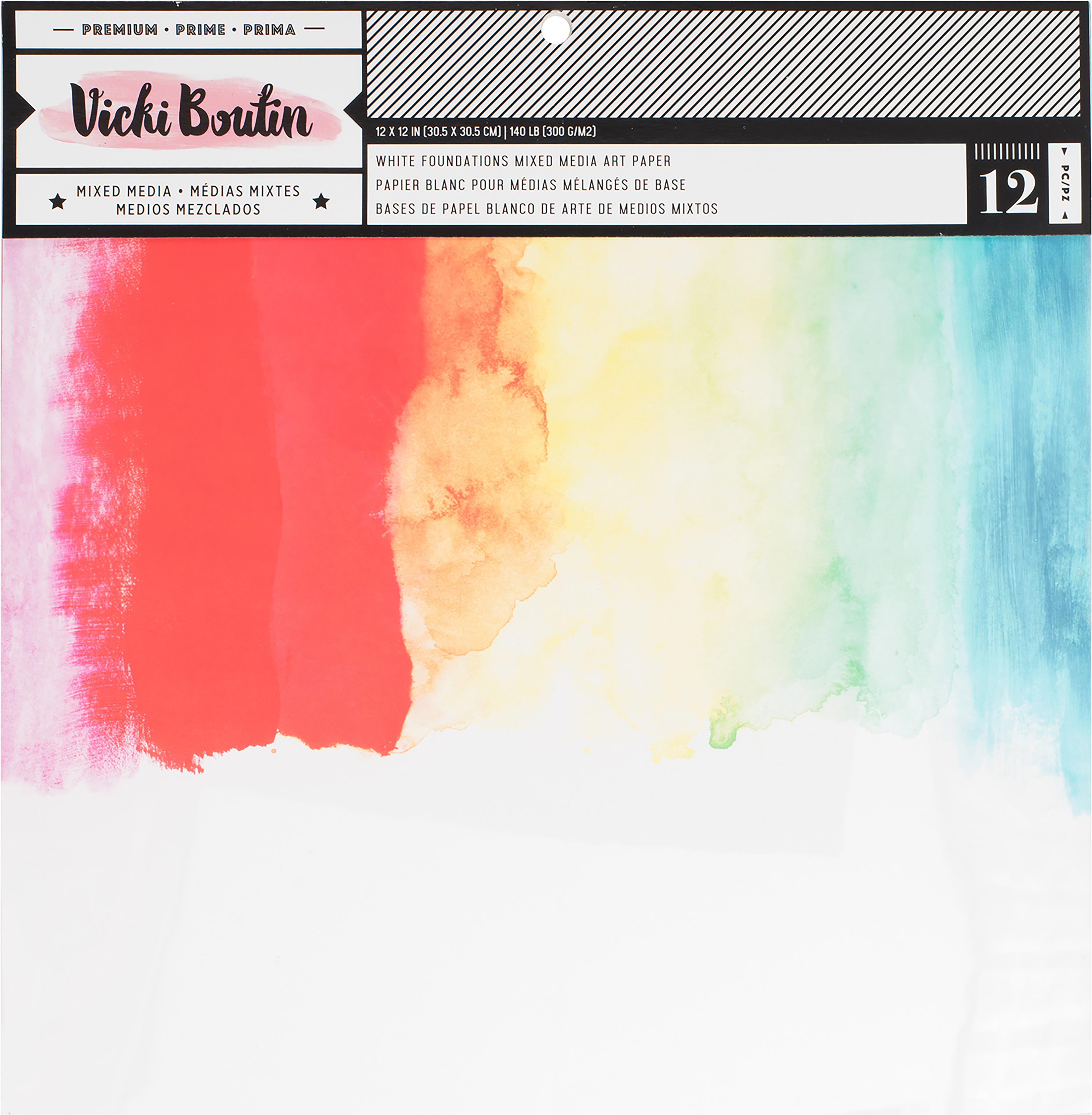 Vicki Boutin Mixed Media Foundations Paper 12X12 12/Pkg-Smooth White, 140lb