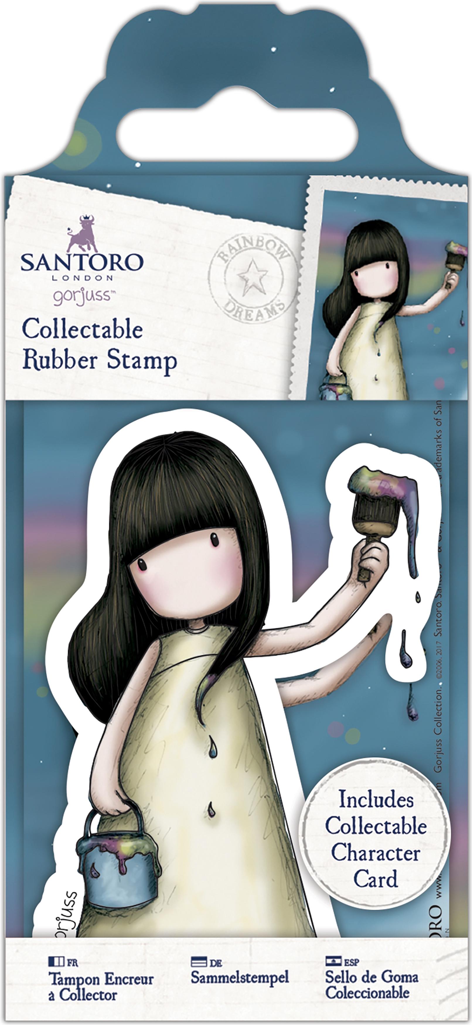 Santoro's Gorjuss Rubber Stamp-No. 46 Rainbow Dreams