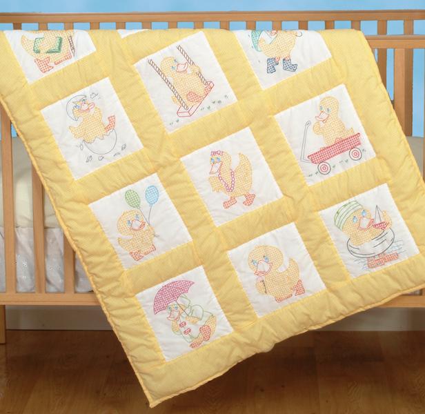 Jack Dempsey Stamped White Nursery Quilt Blocks 9X9 12/Pkg-Baby Ducks