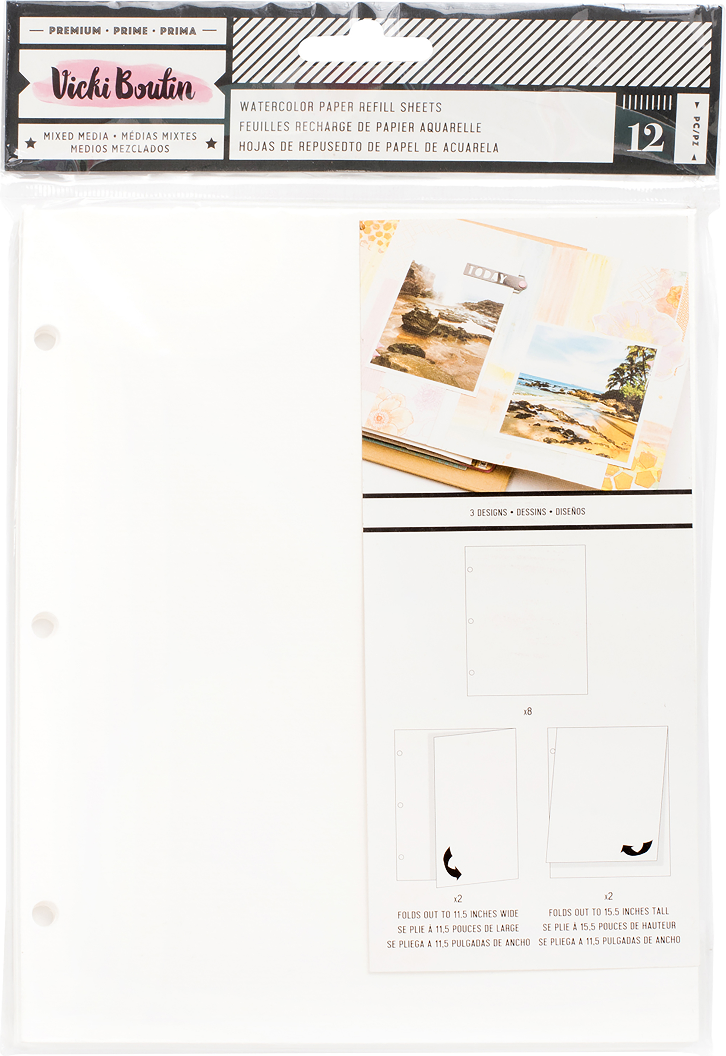 ^Vicki Boutin Junque Journal - Watercolor Paper Refills, 12/Pkg