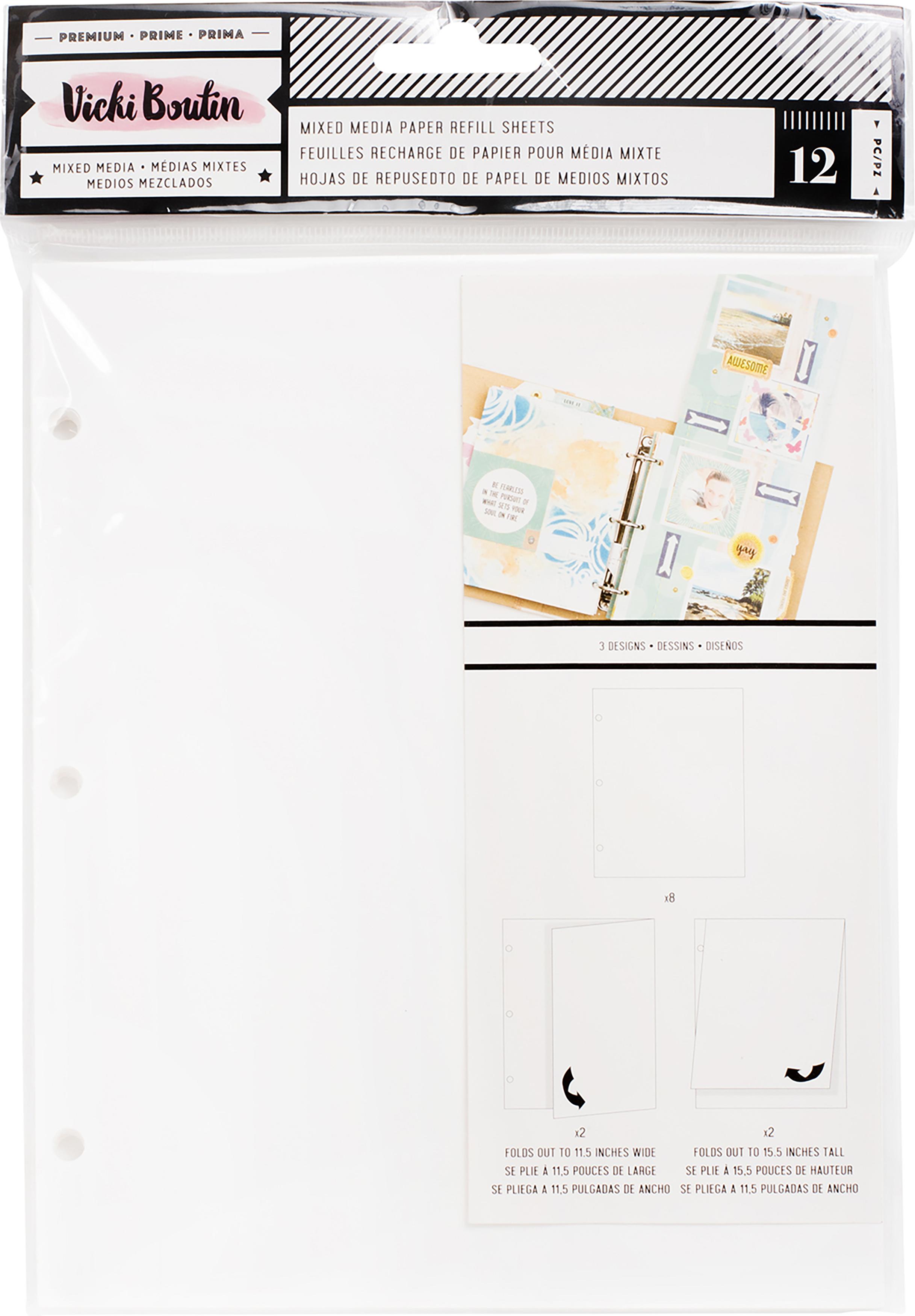 Vicki Boutin Mixed Media Junque Journal Refills 12/Pkg-White Paper, 3 Styles