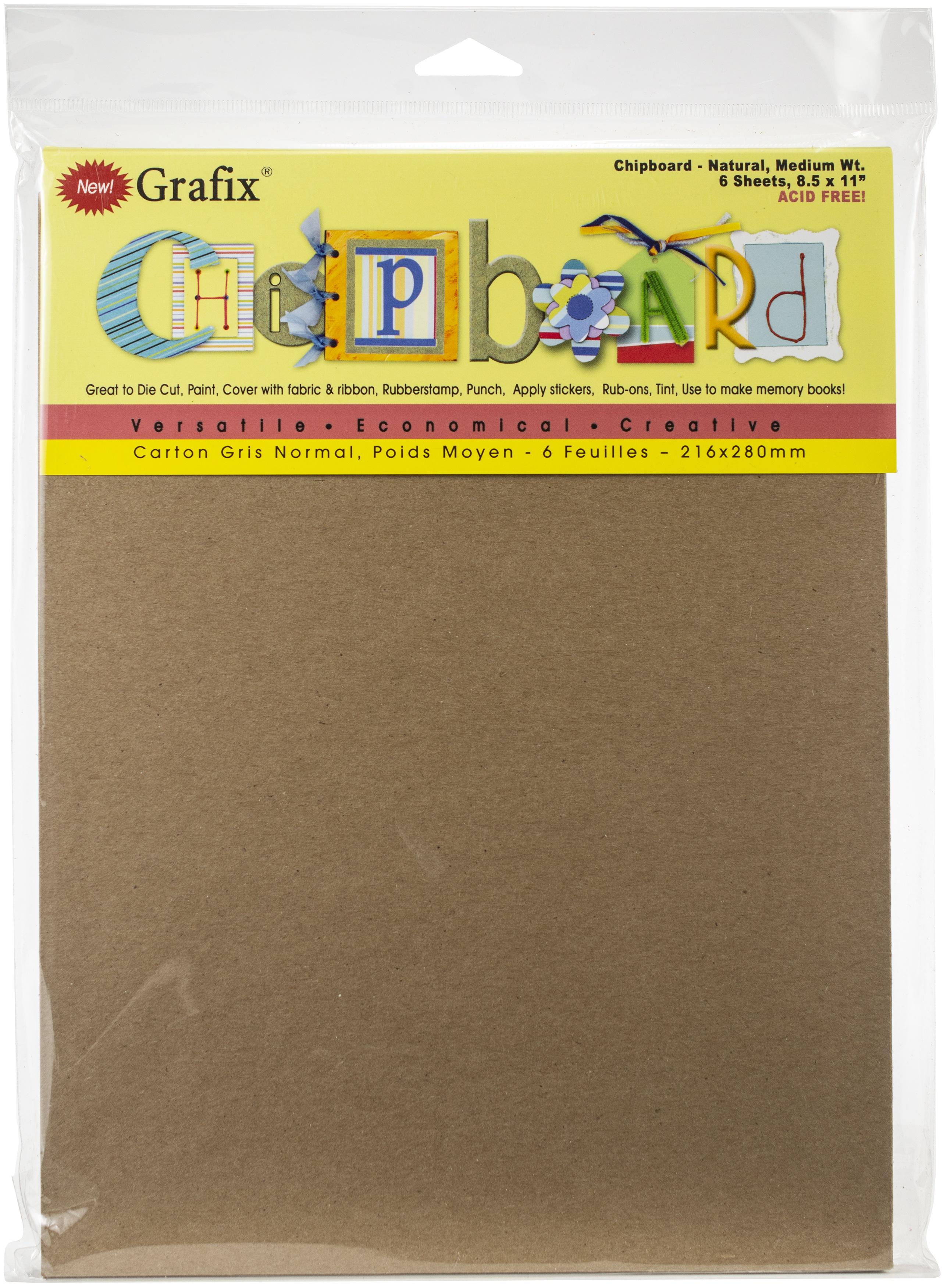 Medium Weight Chipboard Sheets 8.5X11 6/Pkg-Natural